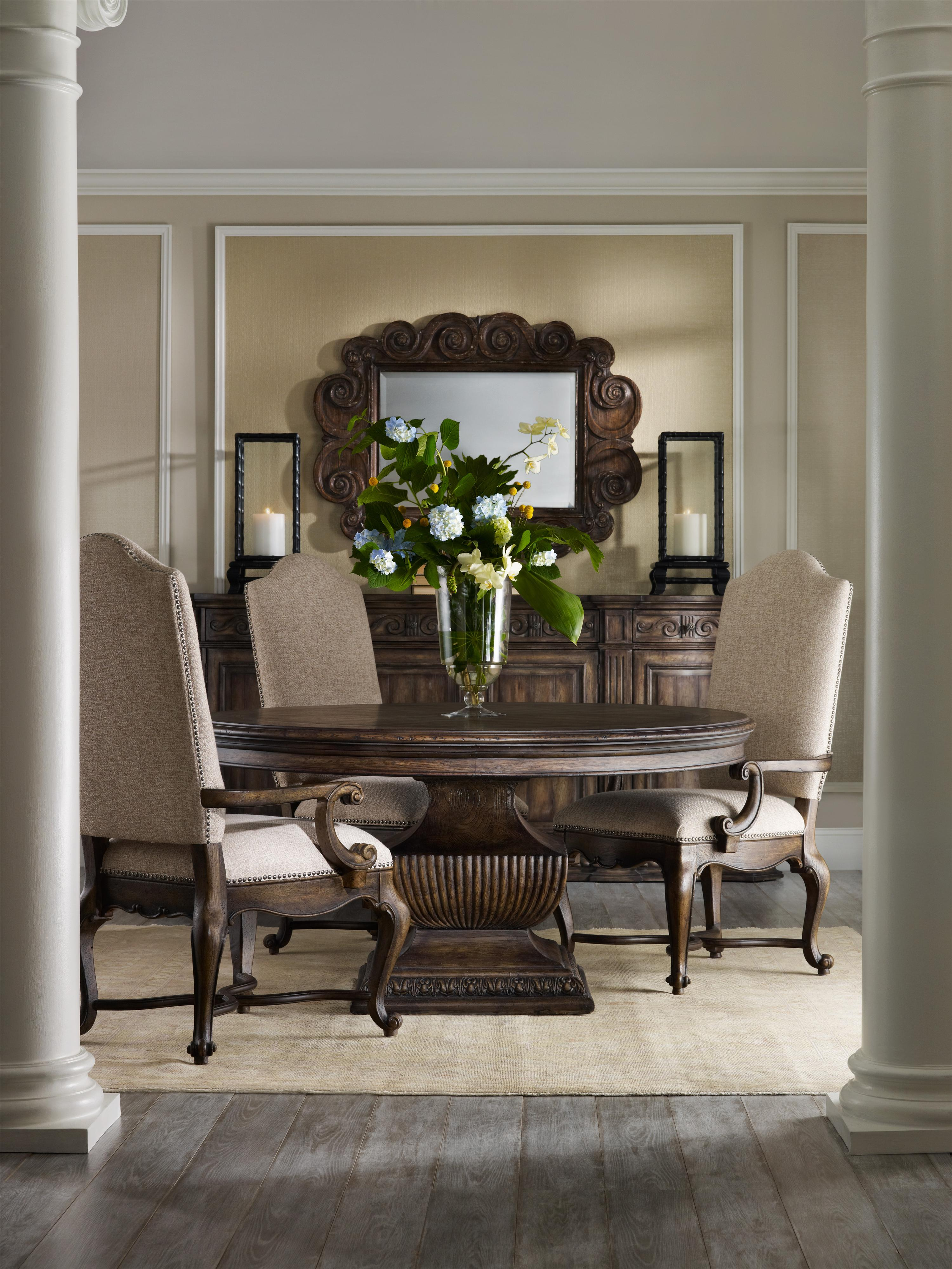 Traditional 60 inch round dining table with grand scale for Traditional dining table bases