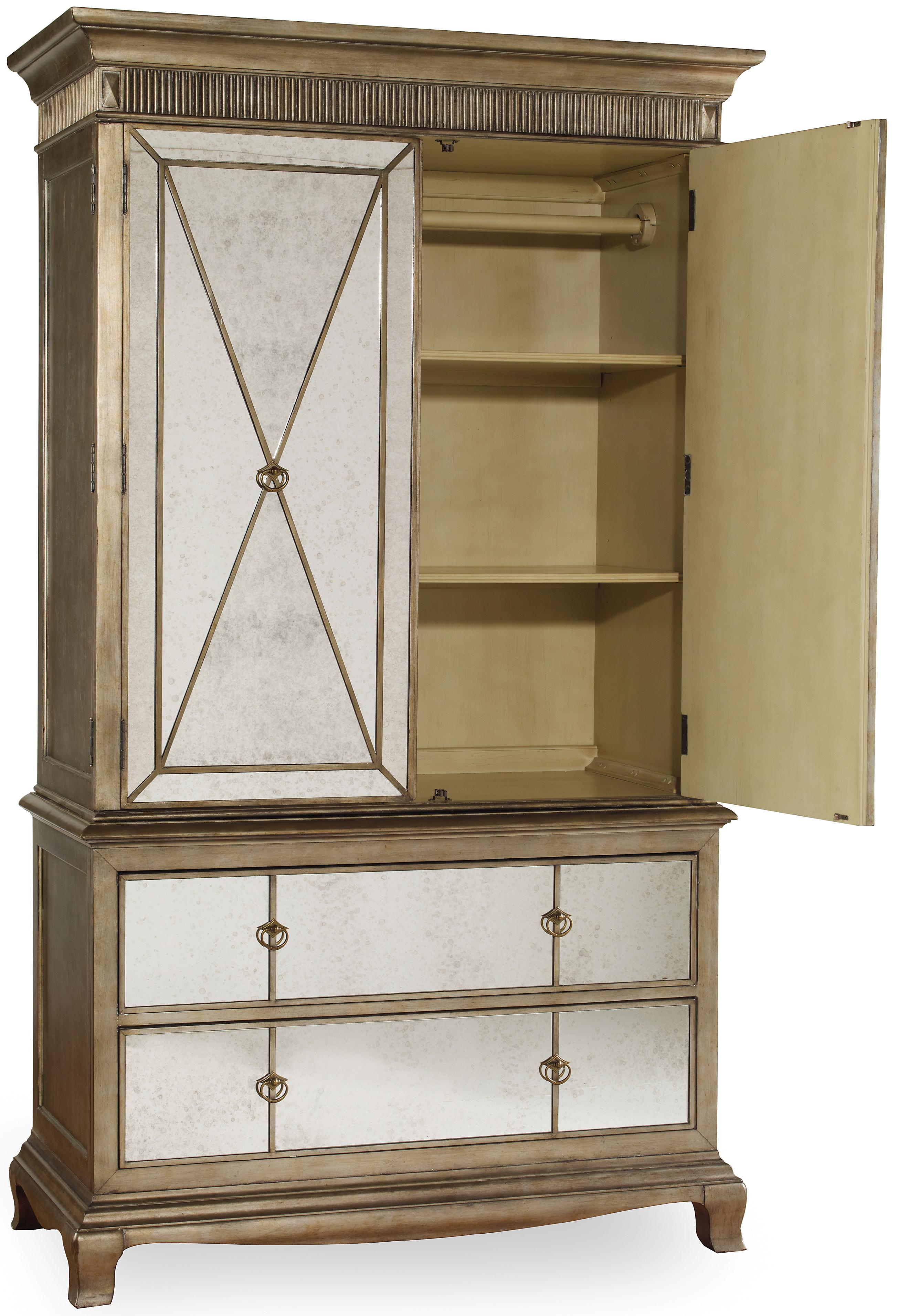 two door two drawer armoire with mirror front by hooker. Black Bedroom Furniture Sets. Home Design Ideas