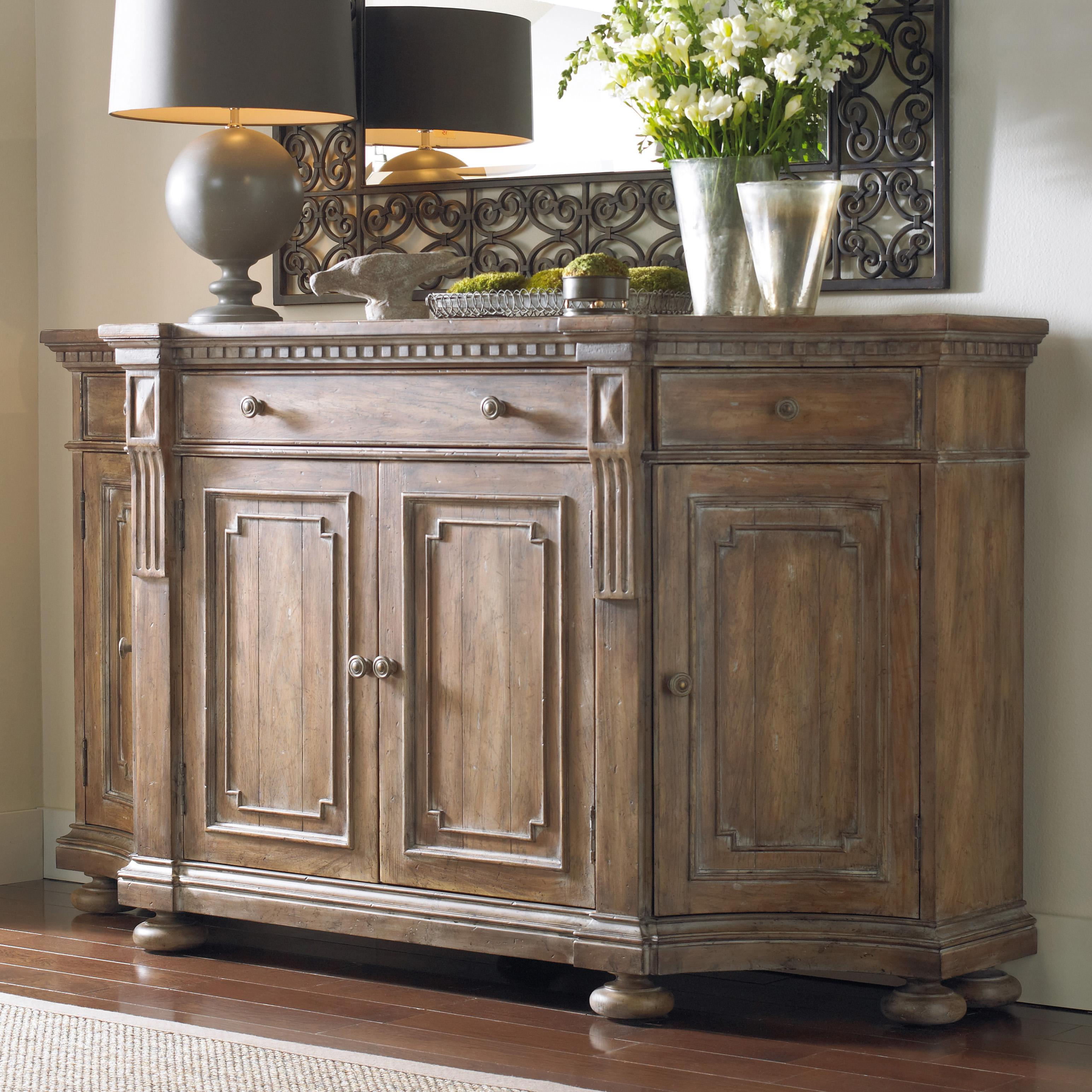 Shaped credenza with concave side doors decorative panels for Credenza furniture
