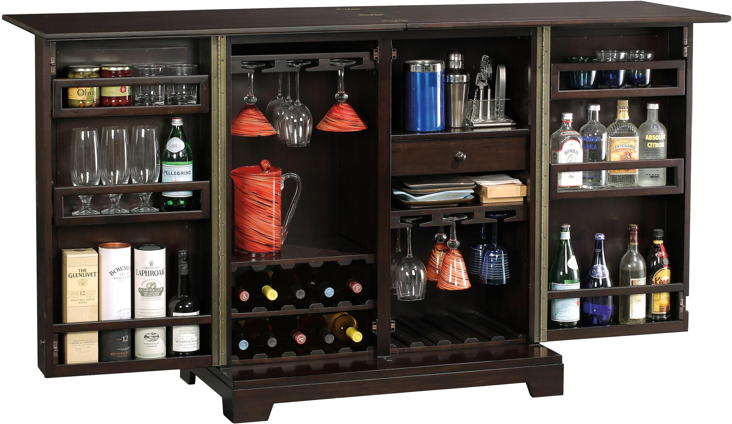 Barolo Console Wine Bar Cabinet With Mirrored Door