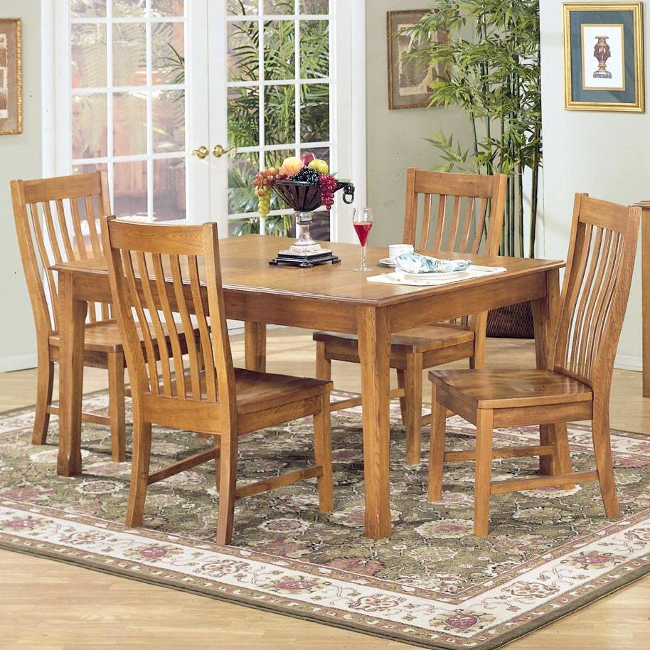 5 piece rectangular dining table and side chair set by for Rectangular dining room tables with leaves