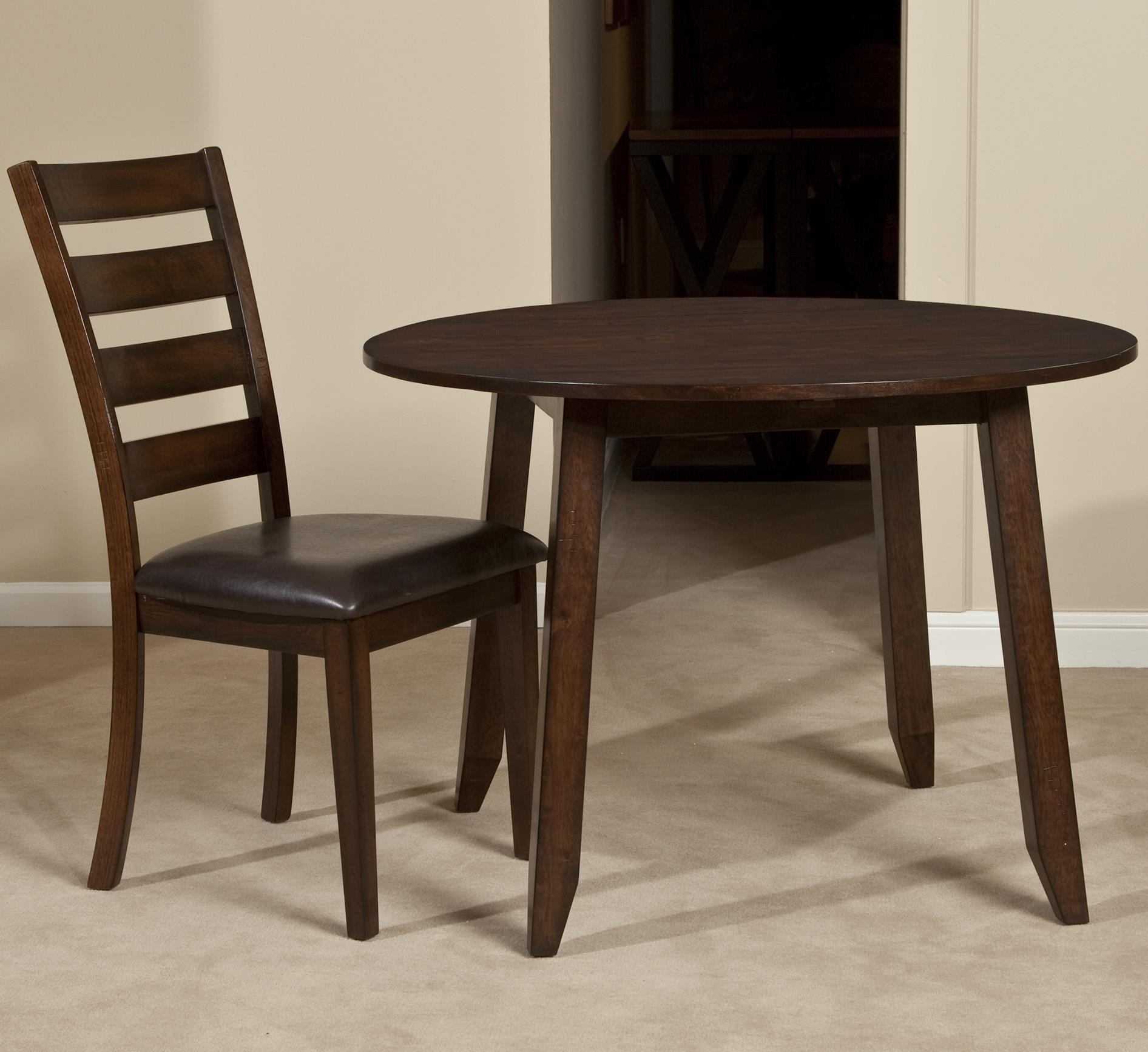 Wooden round top drop leaf dining table by intercon wolf for Round wood dining table with leaf