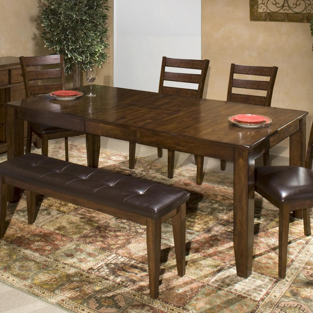Solid mango wood dining table with butterfly leaf by for Dining room leaf