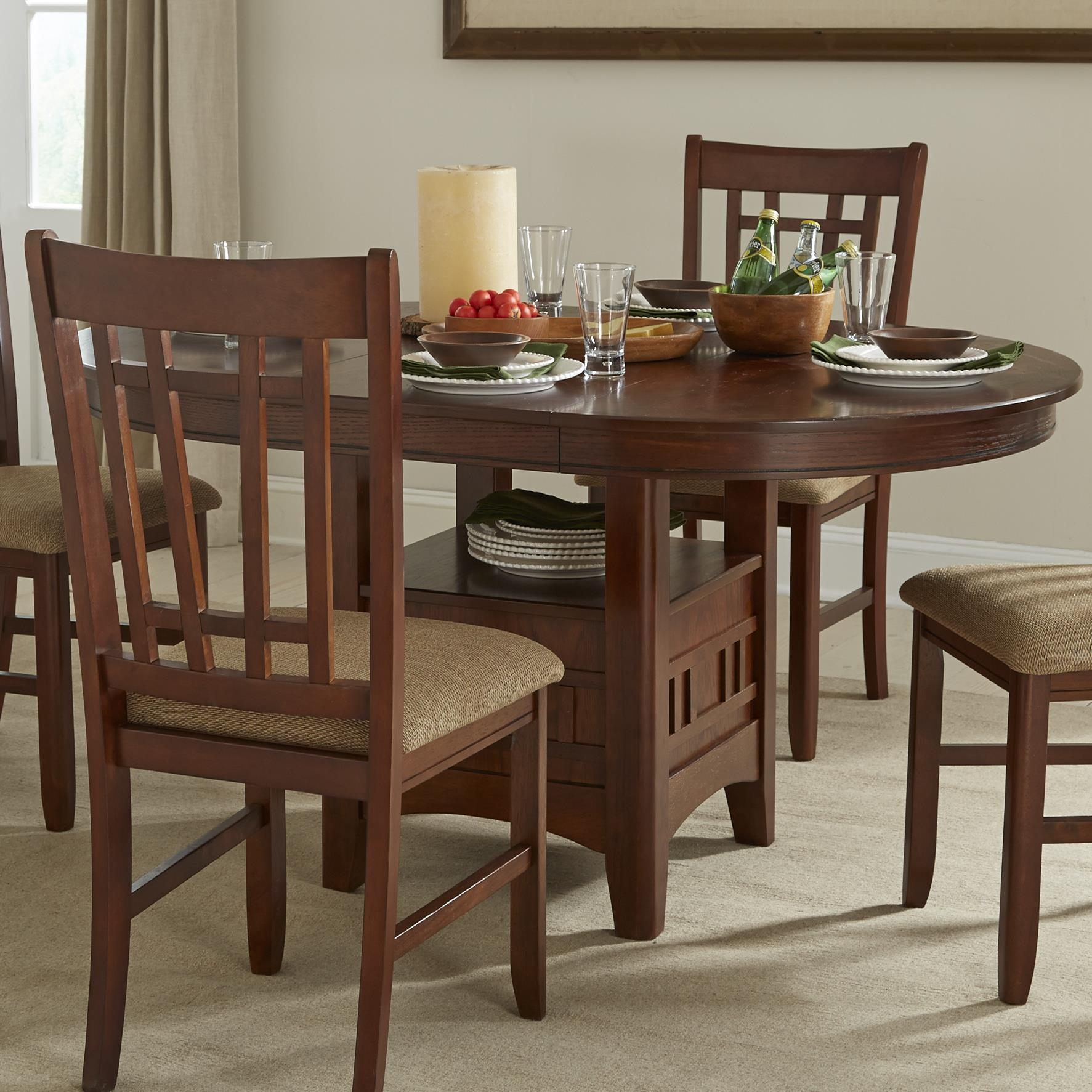 Oval dining table with storage pedestal by intercon wolf for Dining room tables with storage