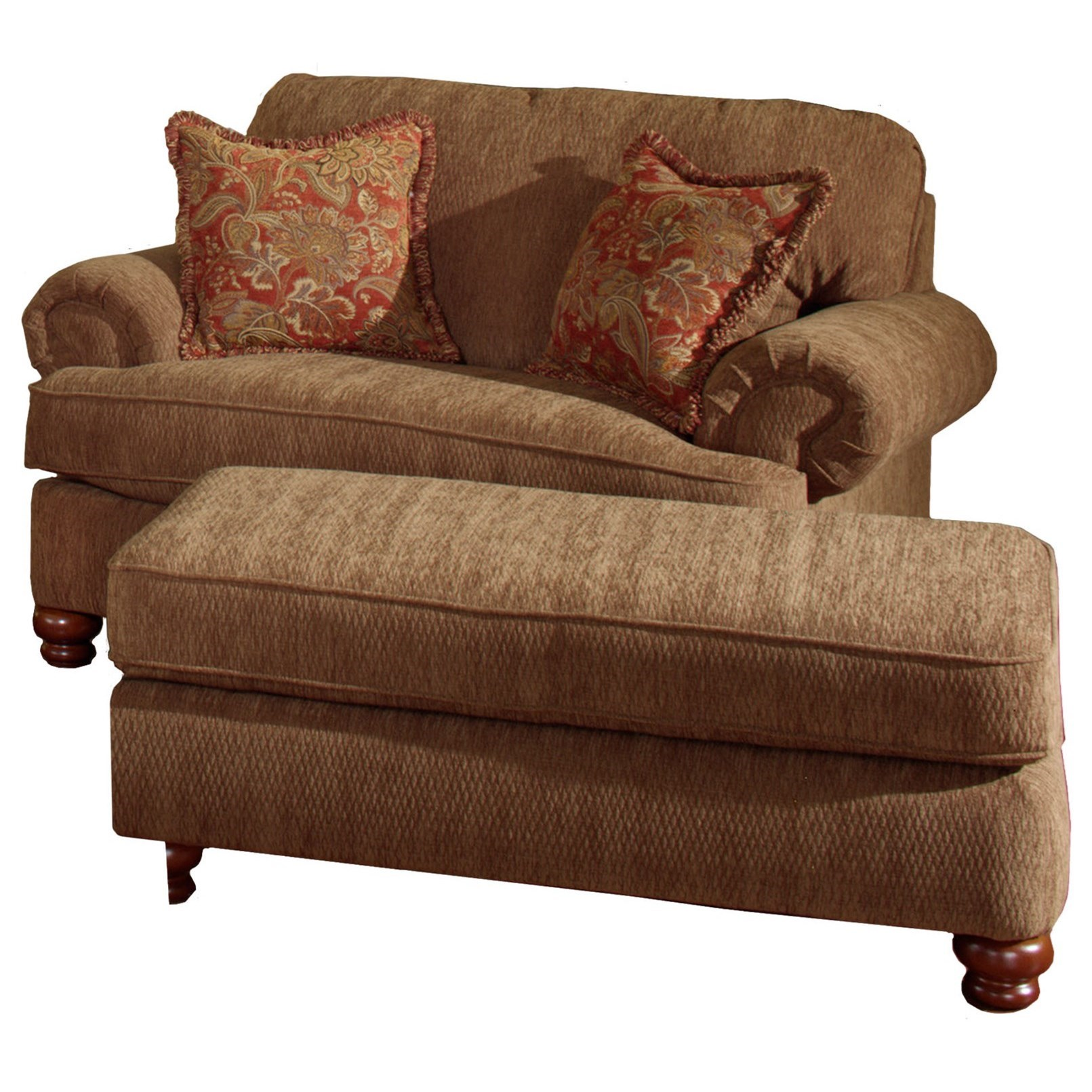 Chair and a half ottoman by jackson furniture wolf and for Chair with ottoman