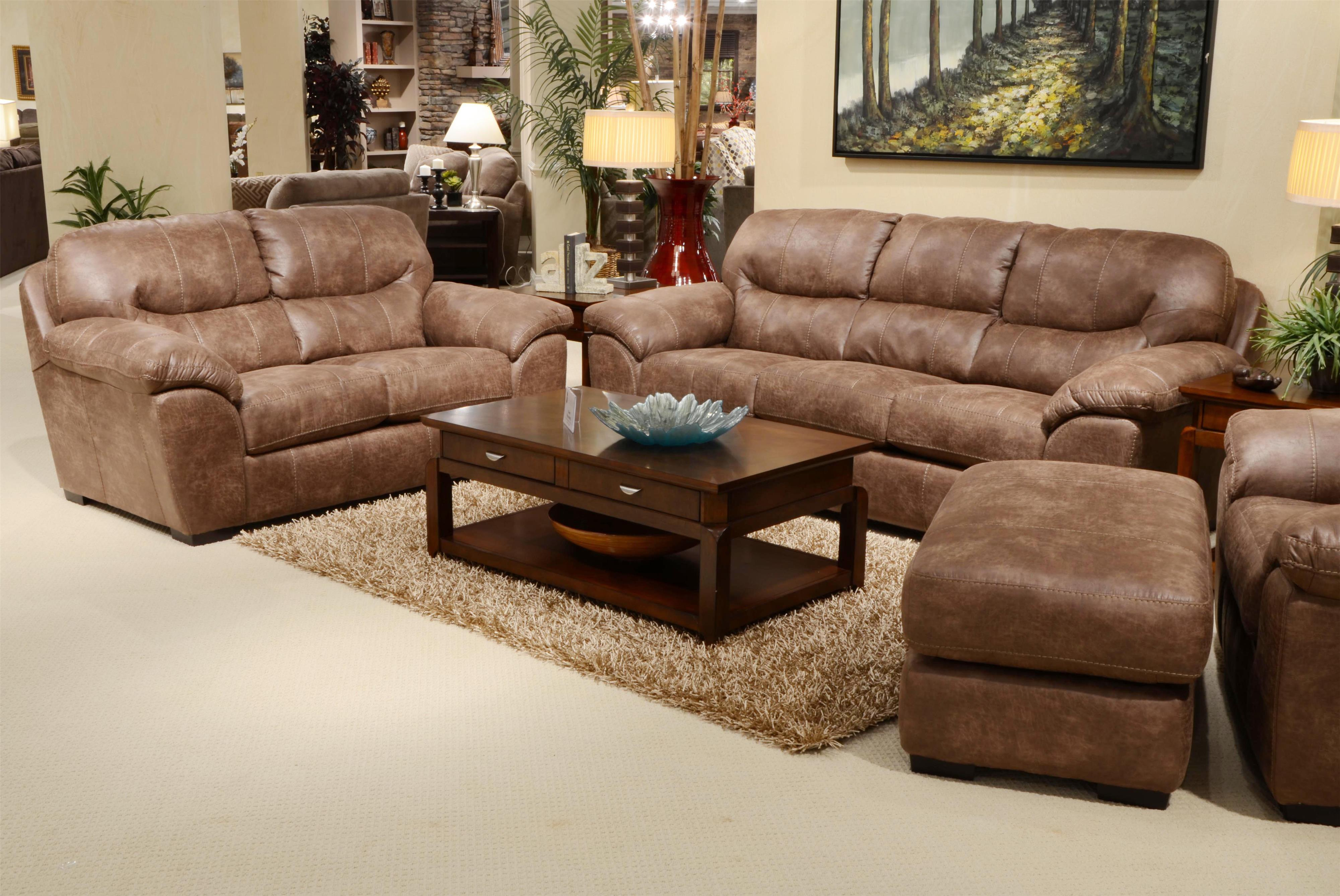 Faux leather sleeper sofa for living rooms and family rooms by jackson furniture wolf and for Faux leather living room furniture