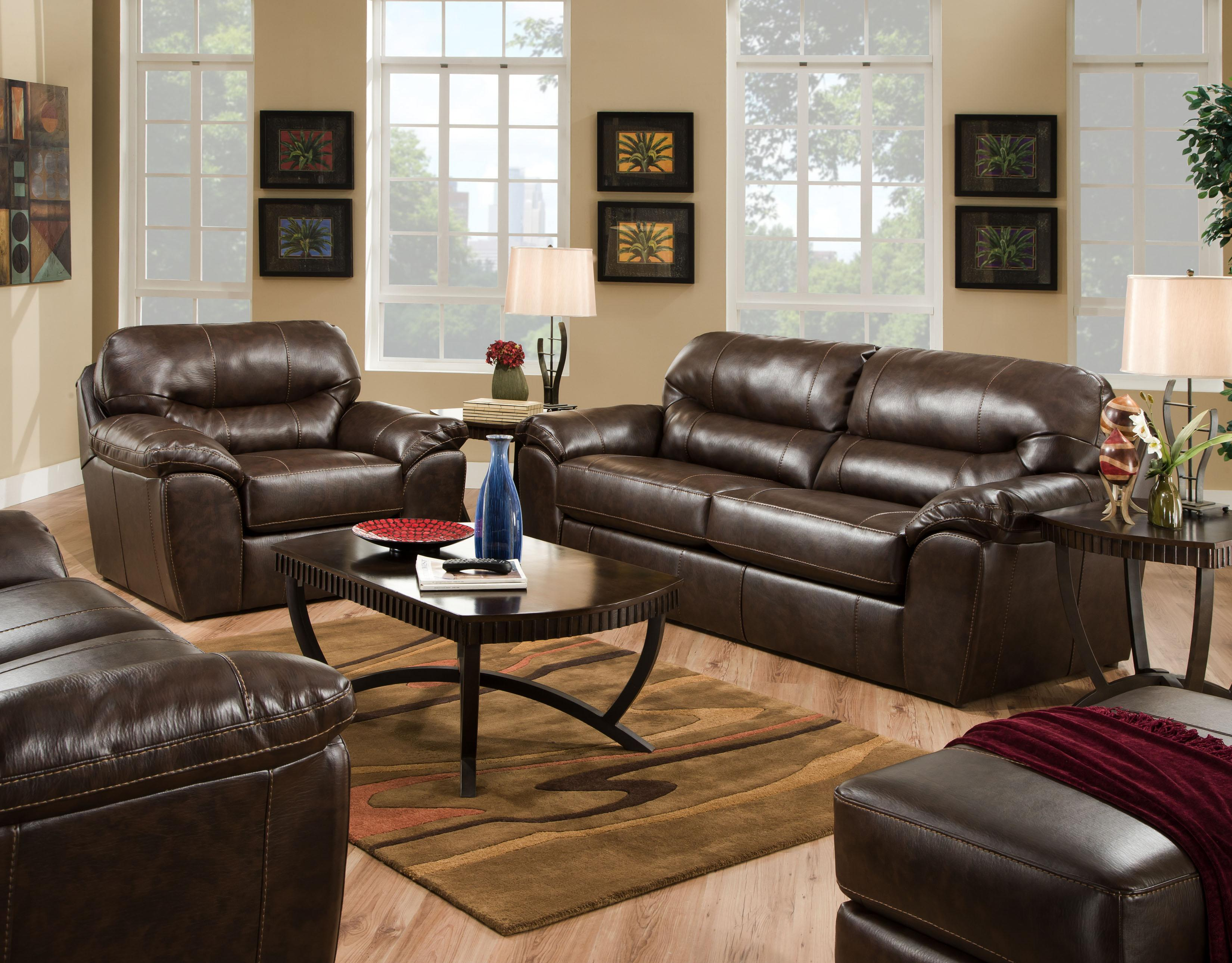 Casual and comfortable faux leather sofa by jackson for Comfortable family room
