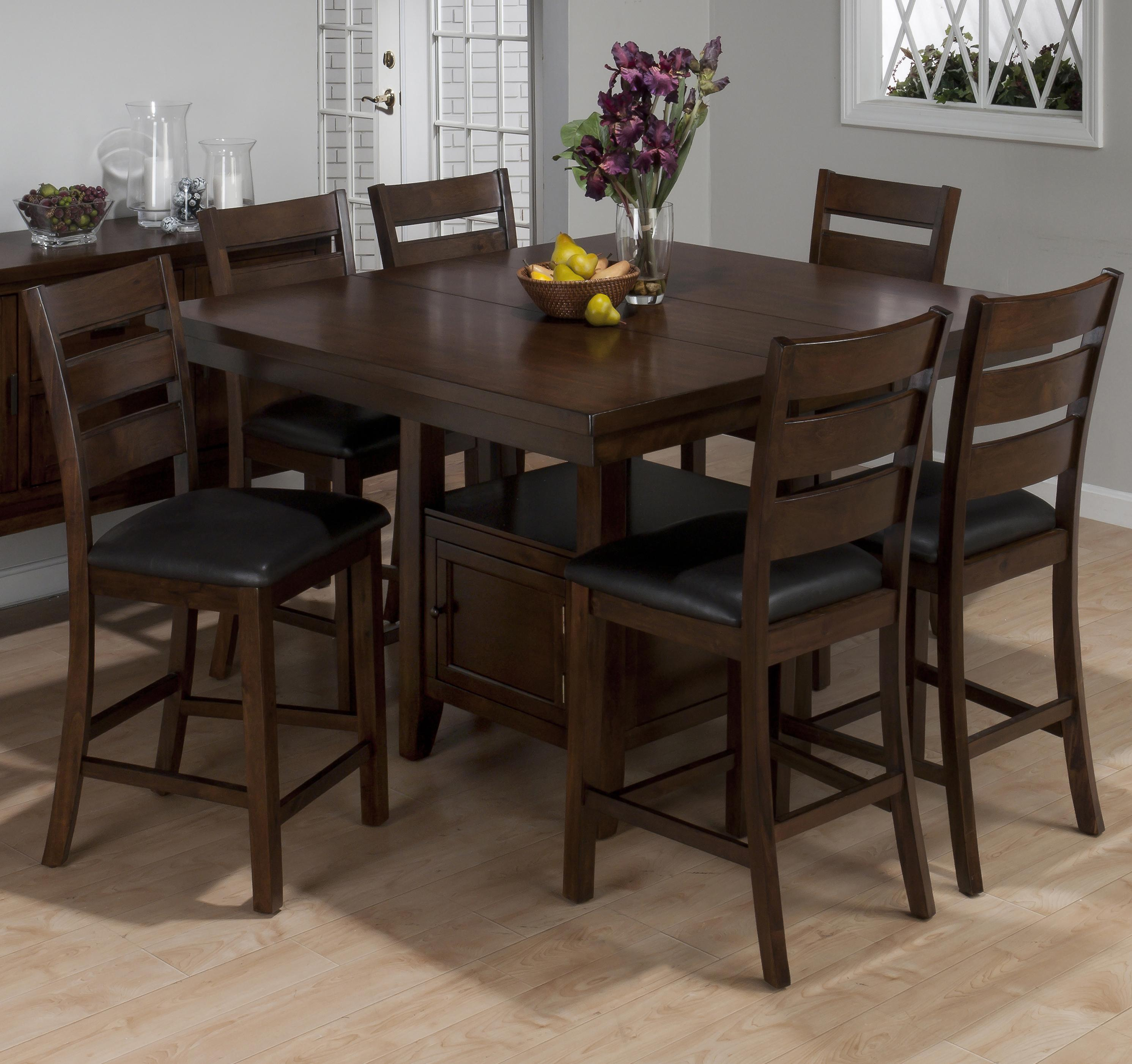 7 piece counter height dining set with storage by jofran for Counter height dining set
