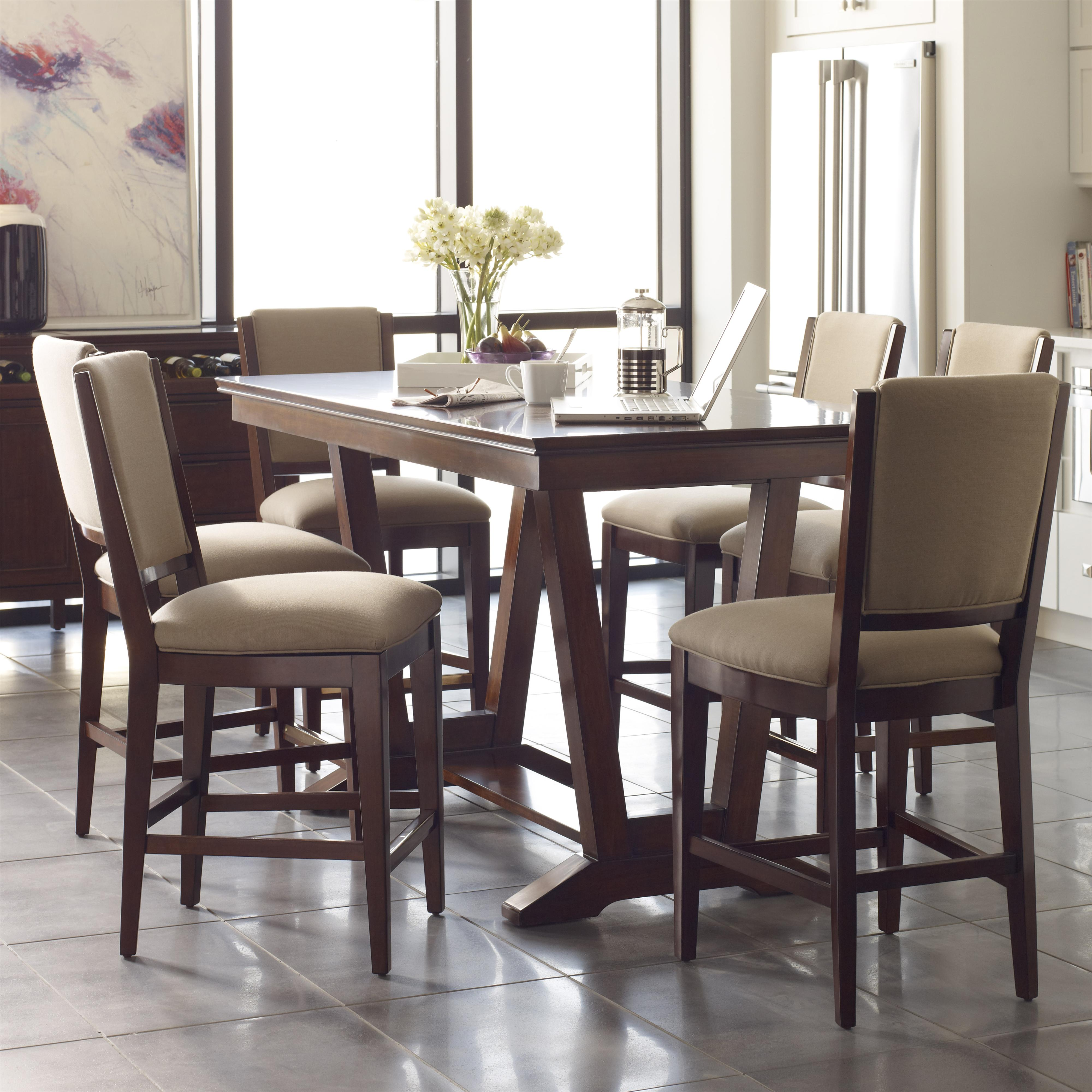 seven piece counter height dining set with upholstered
