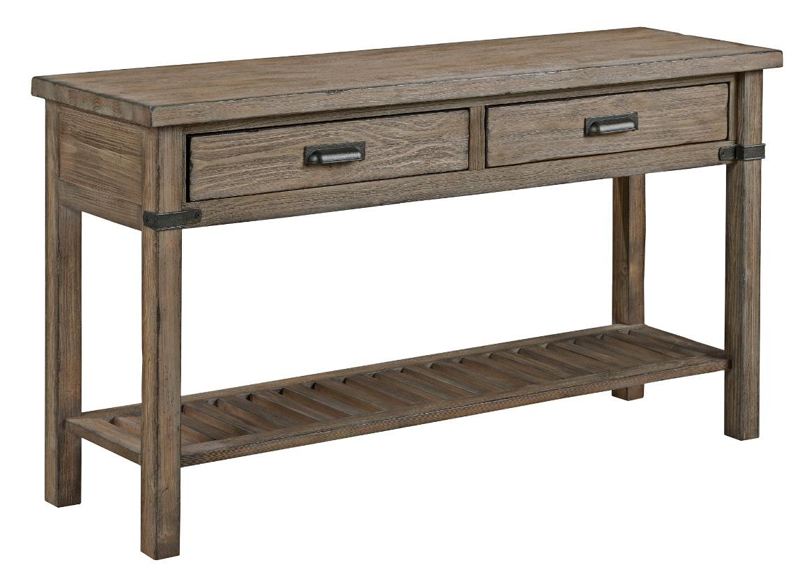 Rustic weathered gray sofa table by kincaid furniture for Sofa table grey