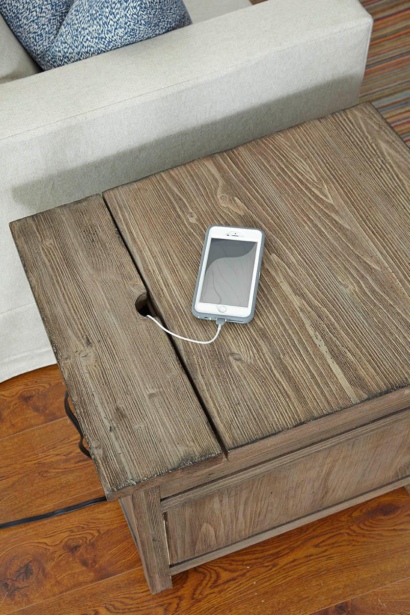 Favorite Rustic Weathered Gray Chairside Table with Power Outlet by Kincaid  GC49