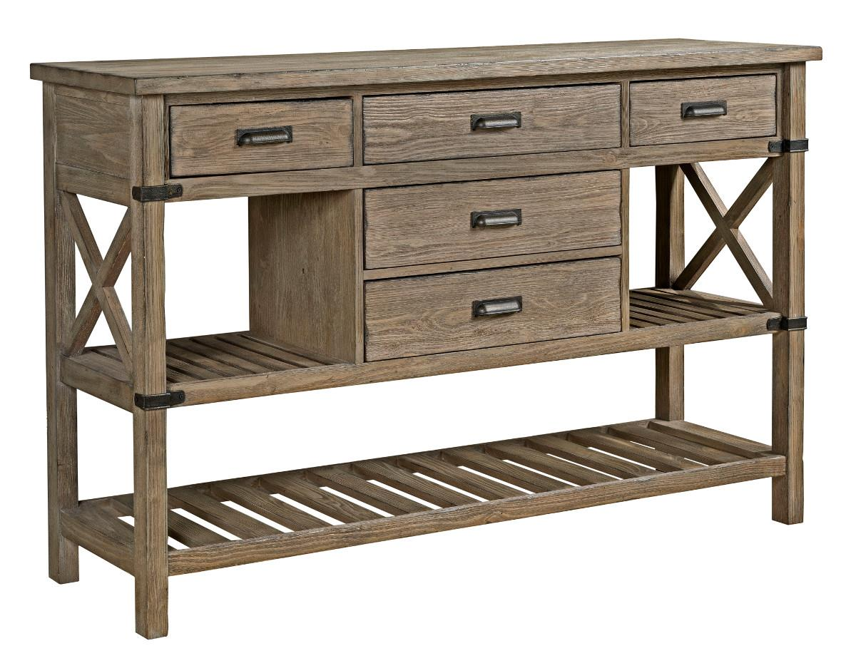 Rustic weathered gray sideboard with silverware storage by