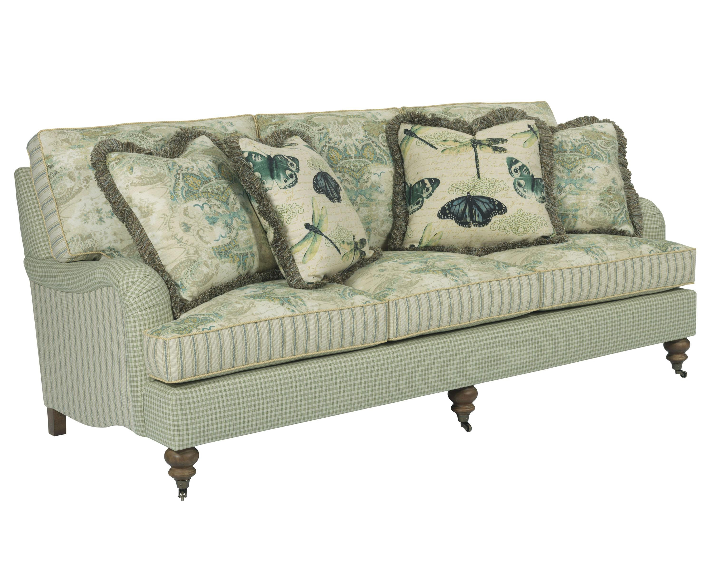 Traditional sofa with english arms and turned legs by for Traditional couches