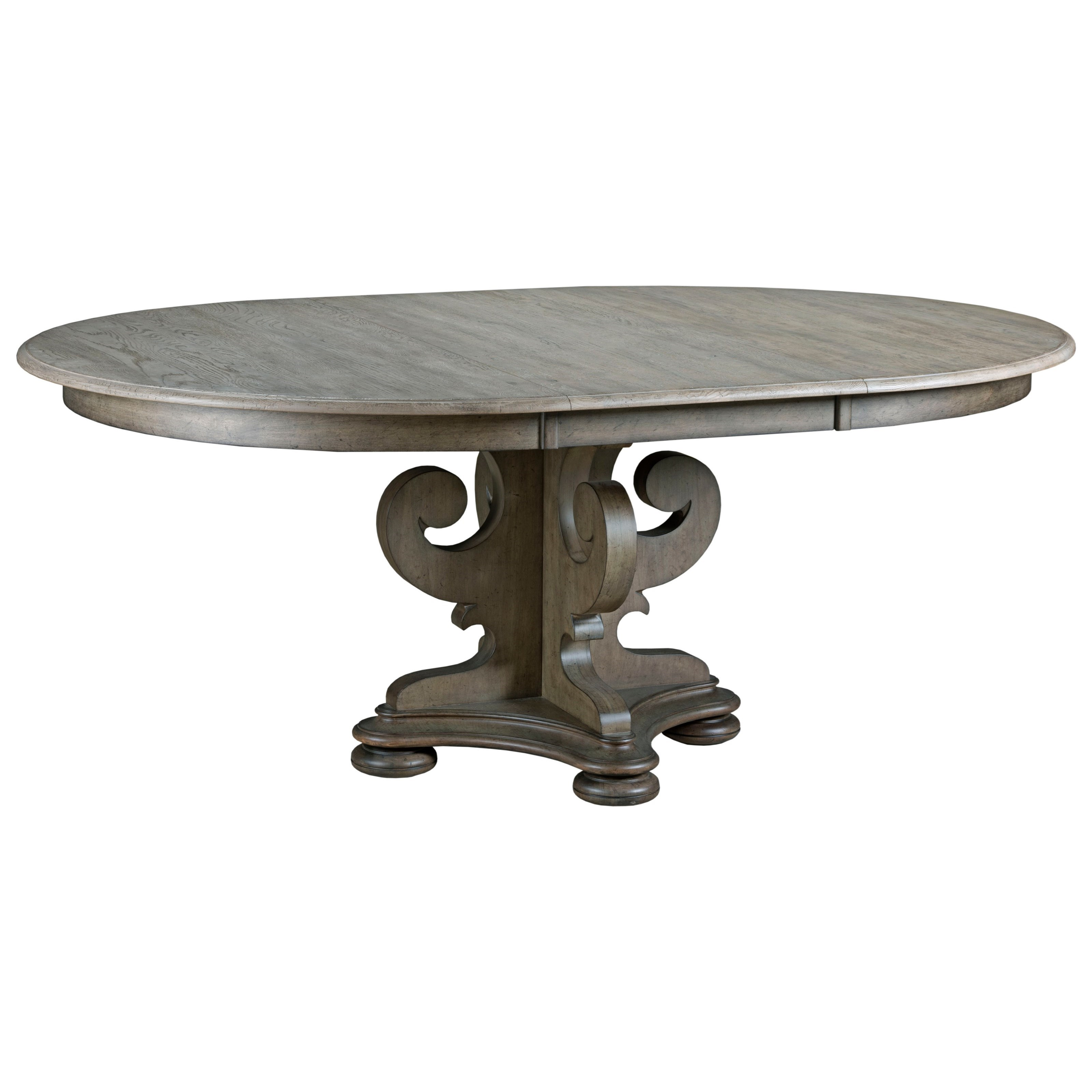 Grant scrolled pedestal round dining table with one for Round pedestal dining room table with leaf
