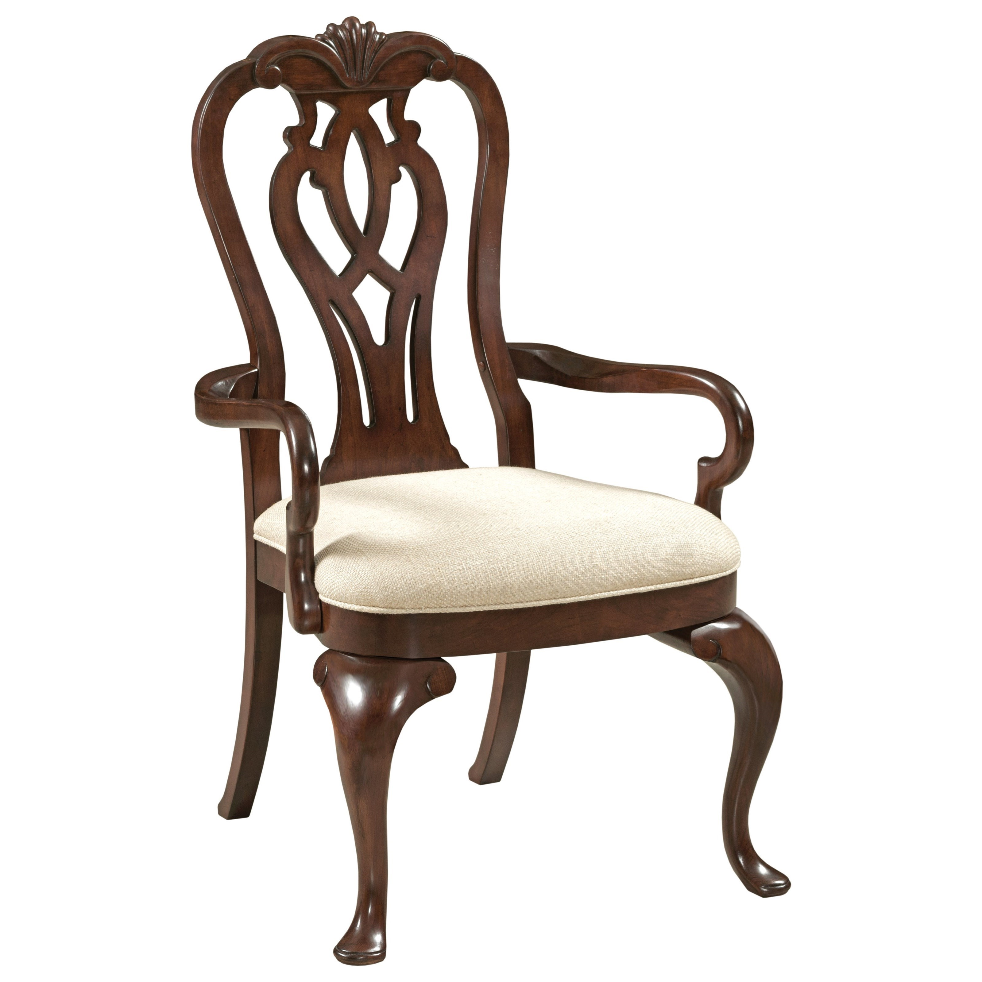 Well-known Traditional Queen Anne Arm Chair with Upholstered Seat by Kincaid  RG78