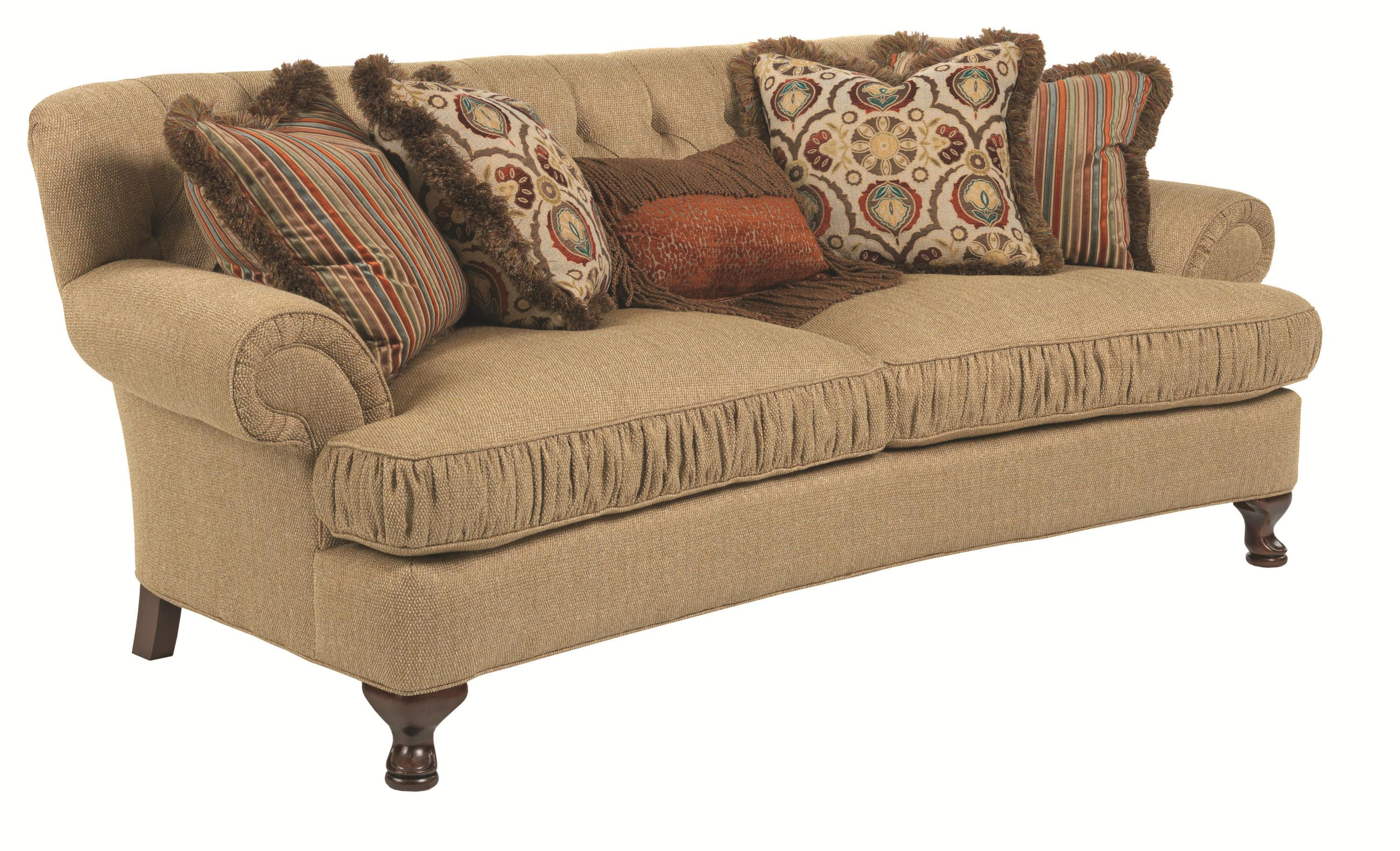 traditional conversation sofa with ruched cushions and