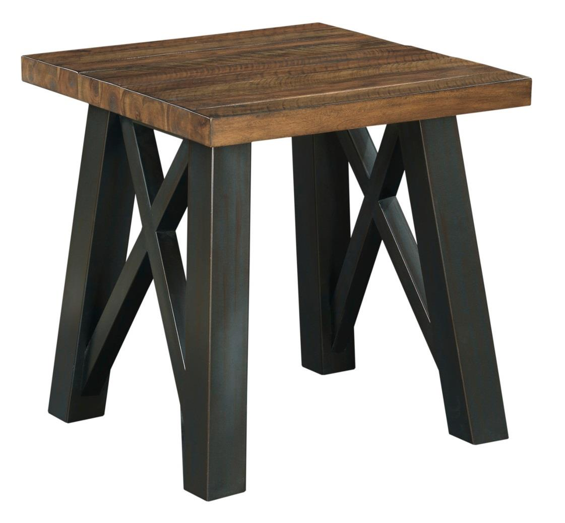 Crossfit end table with solid acacia top and rustic metal for Occasional tables