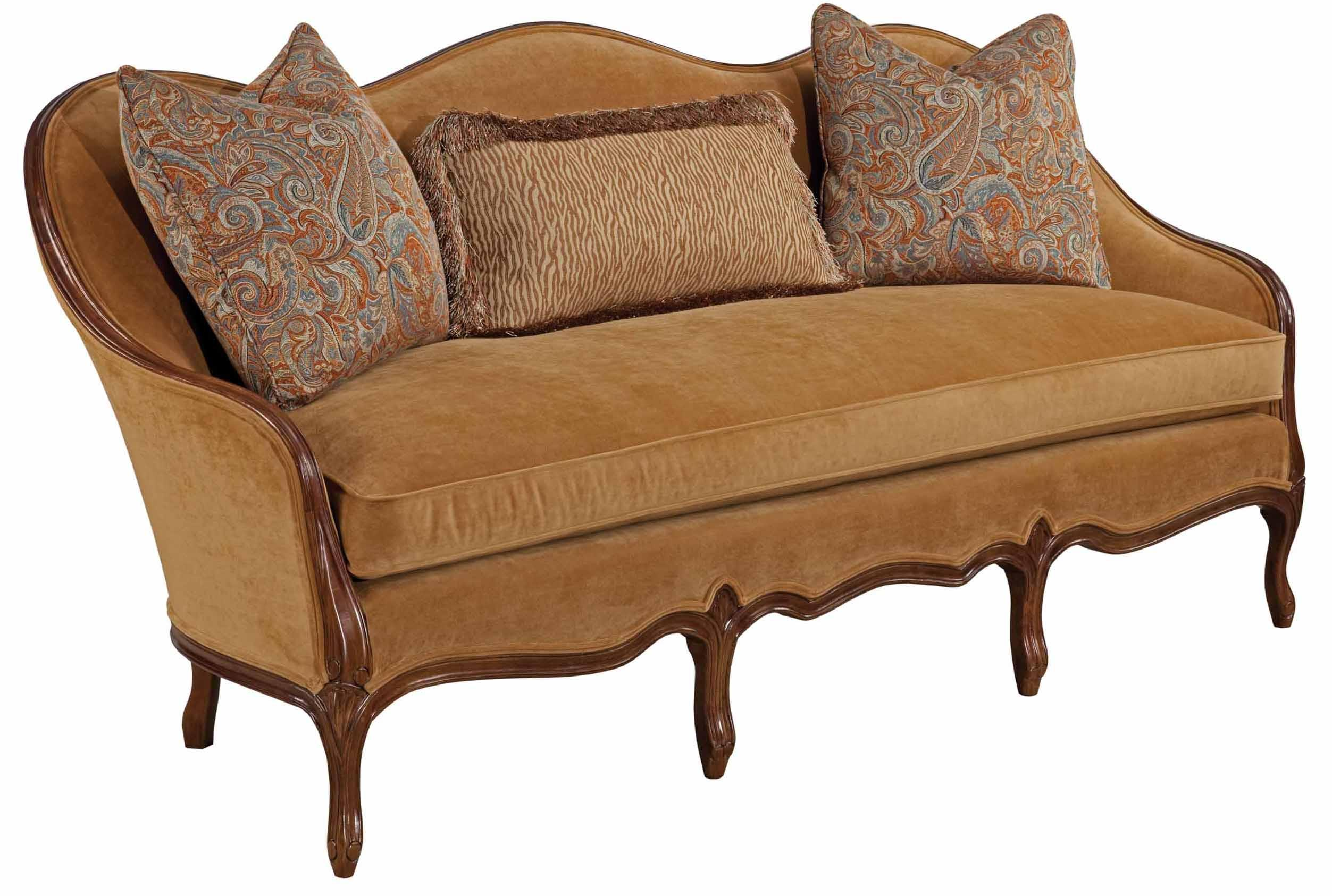 Traditional french sofa with exposed wood camel back and for French divan chair