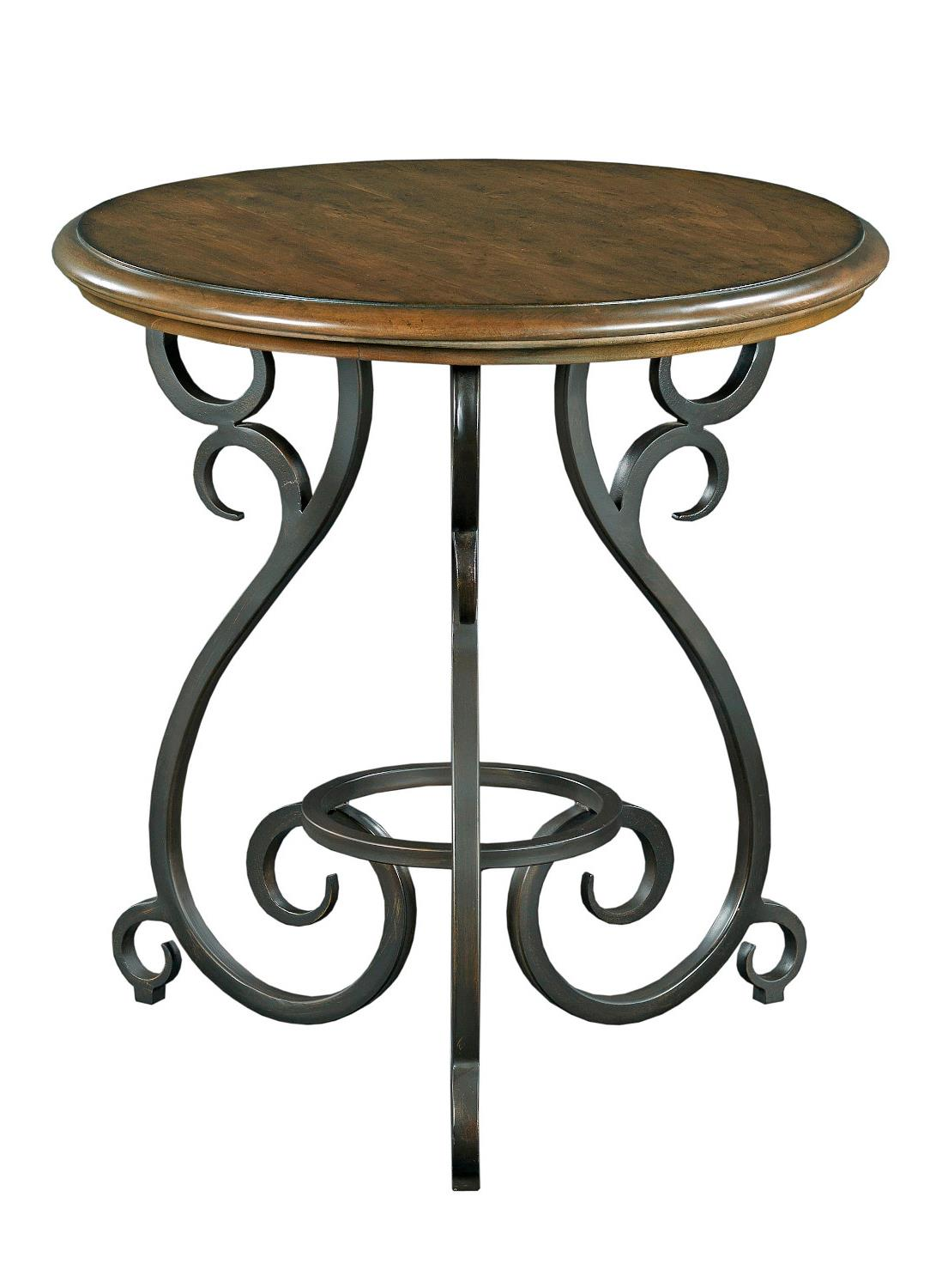 Traditional round accent table with old world cast iron for Cast iron end table