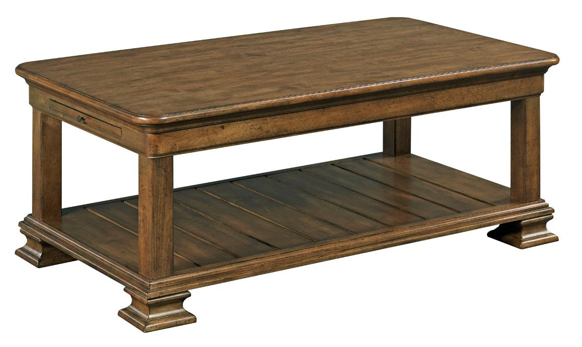 Traditional Rectangular Solid Wood Cocktail Table by