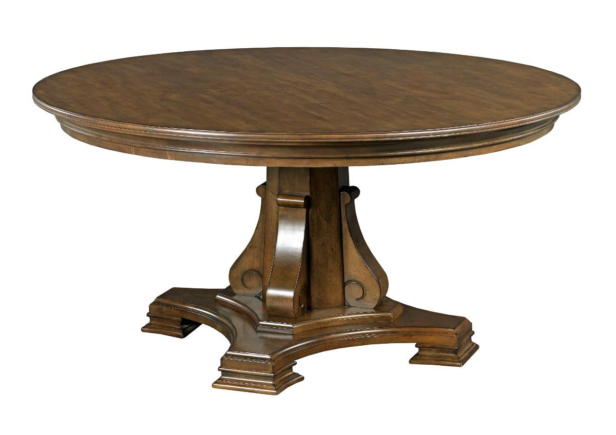 stellia 60 round solid wood dining table with carved wood pedestal