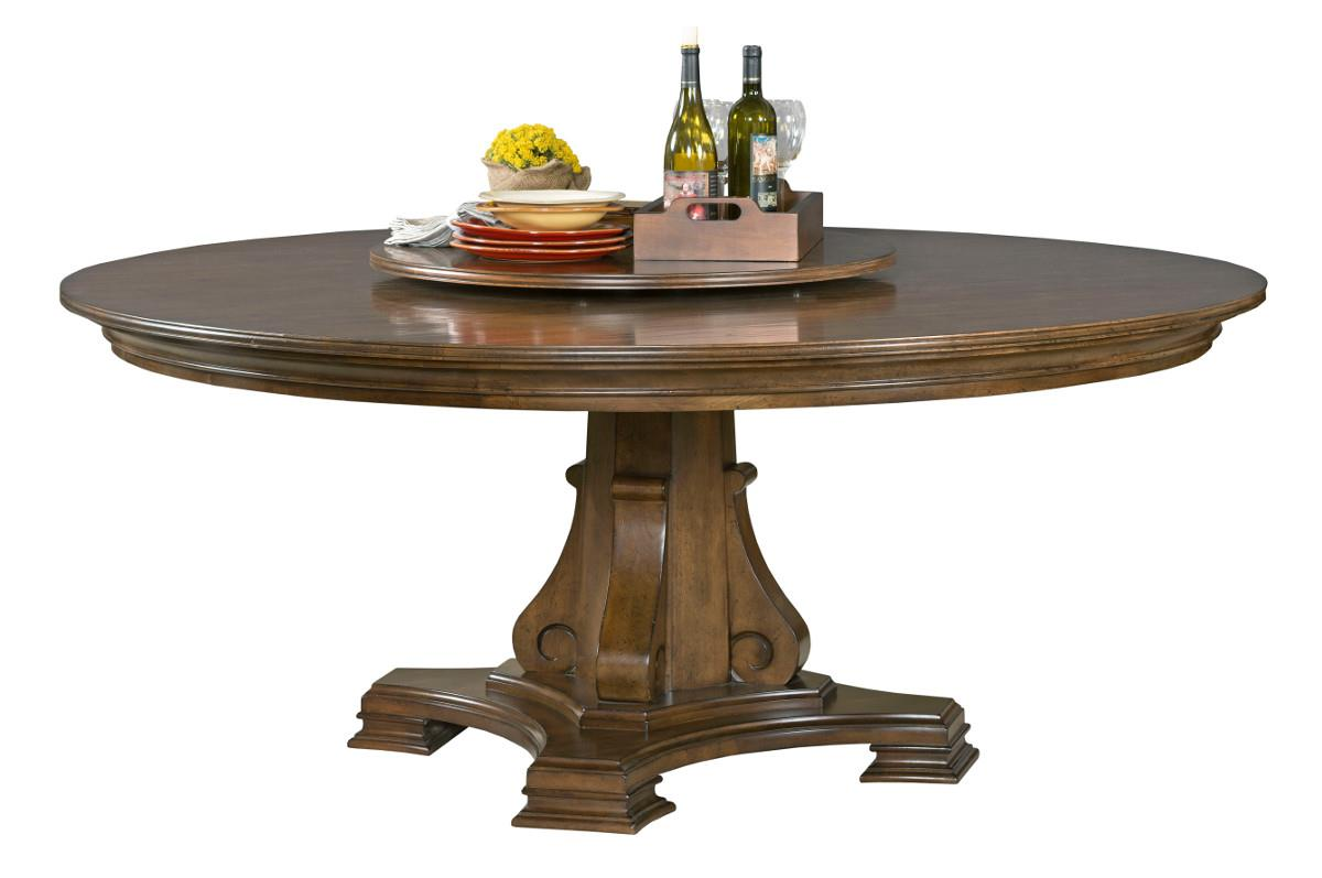 stellia 72 round solid wood dining table with carved wood pedestal base and lazy susan by. Black Bedroom Furniture Sets. Home Design Ideas