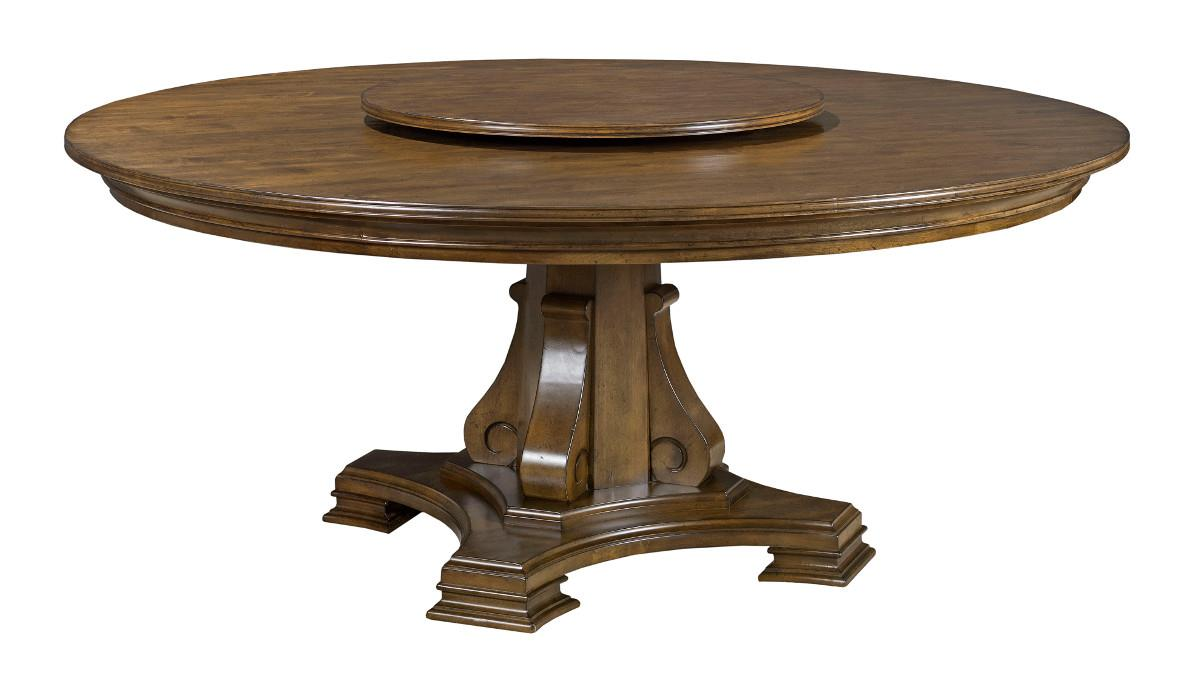 Stellia 72 round solid wood dining table with carved wood for Solid wood round tables dining