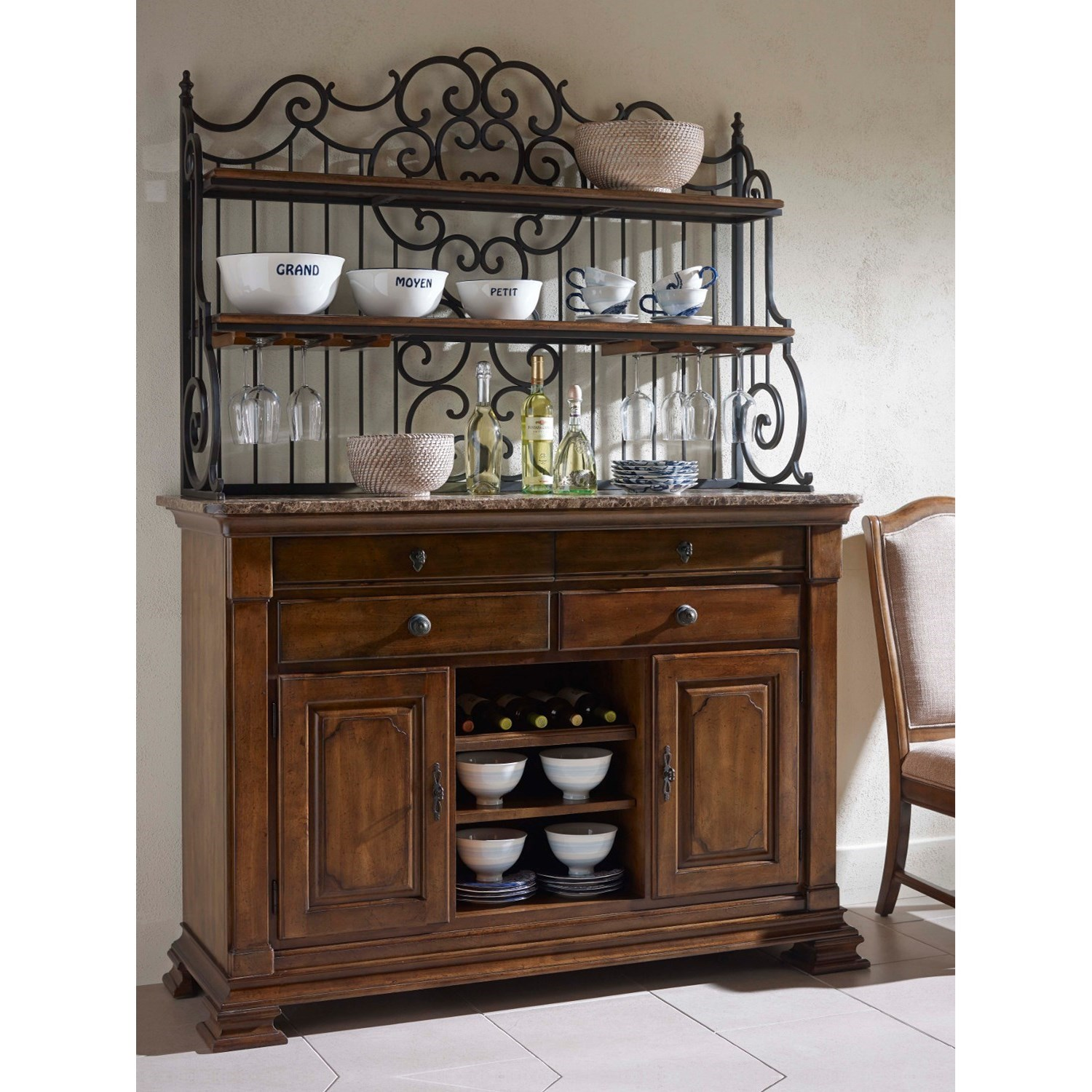 Solid wood sideboard with marble top and wrought iron for Sideboard 2 m lang