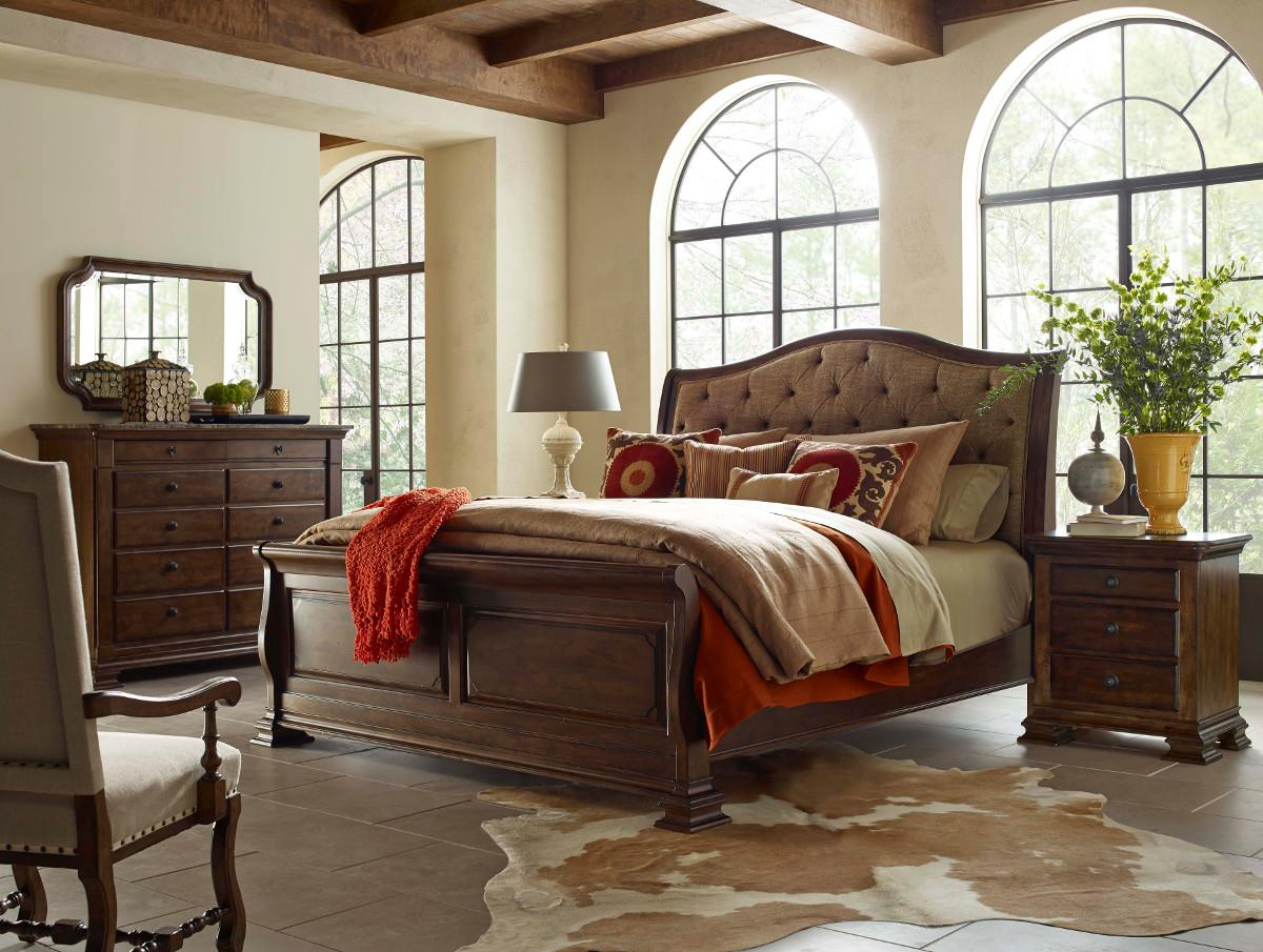 Queen Portolone Upholstered Sleigh Bed By Kincaid Furniture Wolf And Gardiner Wolf Furniture