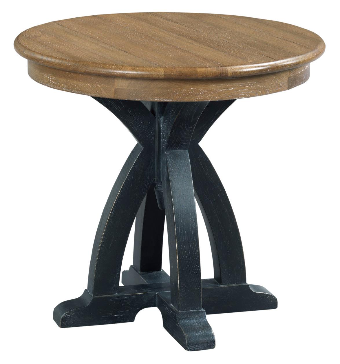 Transitional rustic round wood end table by kincaid for Round wood side table