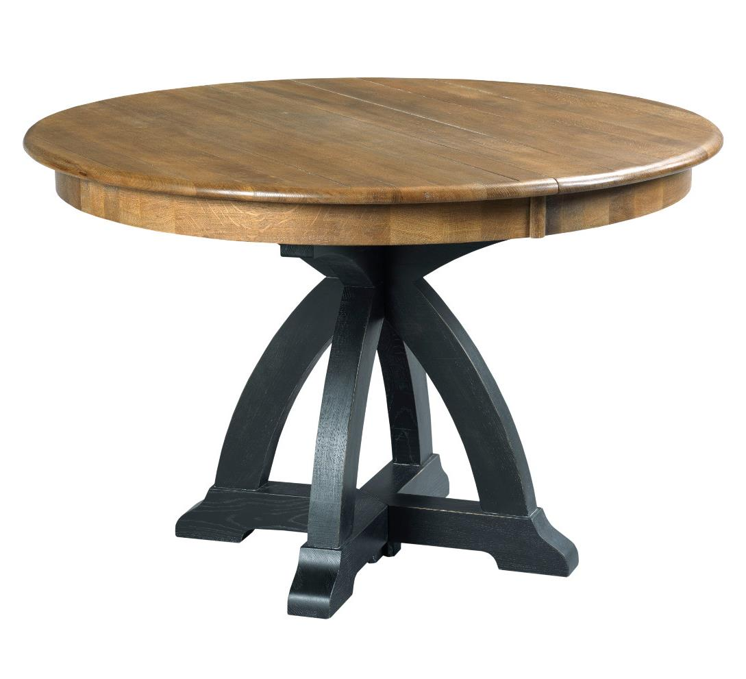 Transitional rustic round dining table with one extension for Round extension dining table