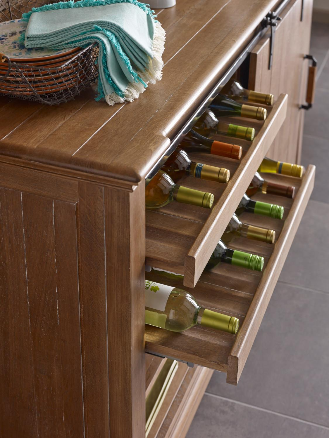 Transitional Rustic Sliding Barn Door Buffet with Wine