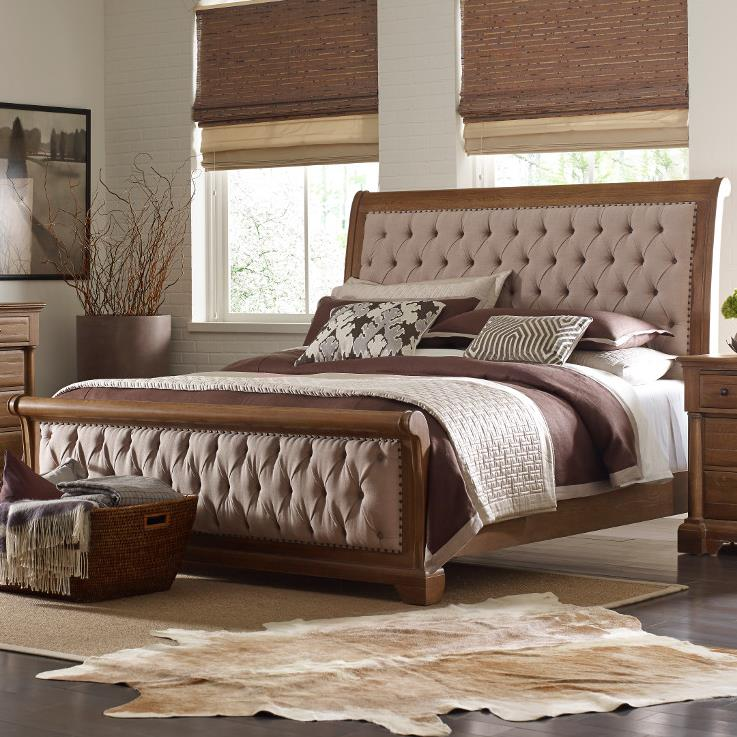 California King Size Upholstered Sleigh Bed With