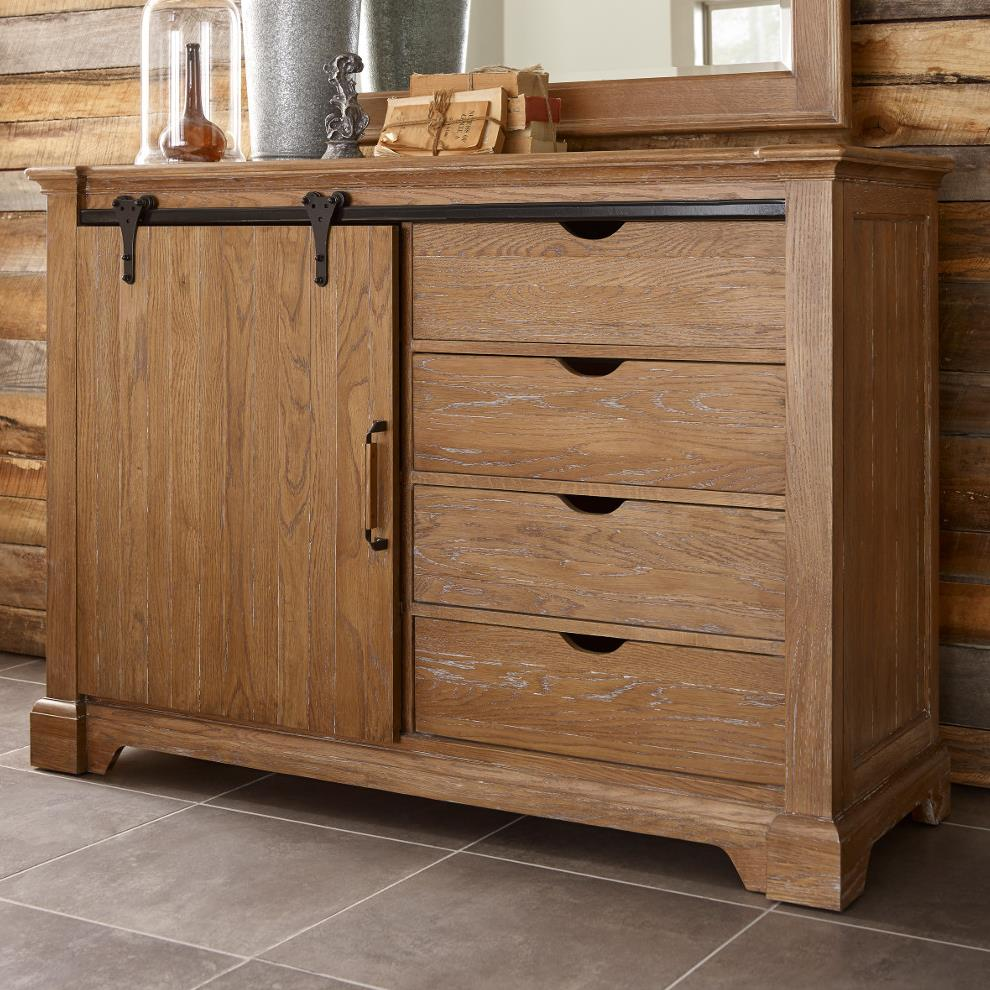 Transitional Rustic Sliding Barn Door Media Chest With Clothing Storage By Kincaid Furniture