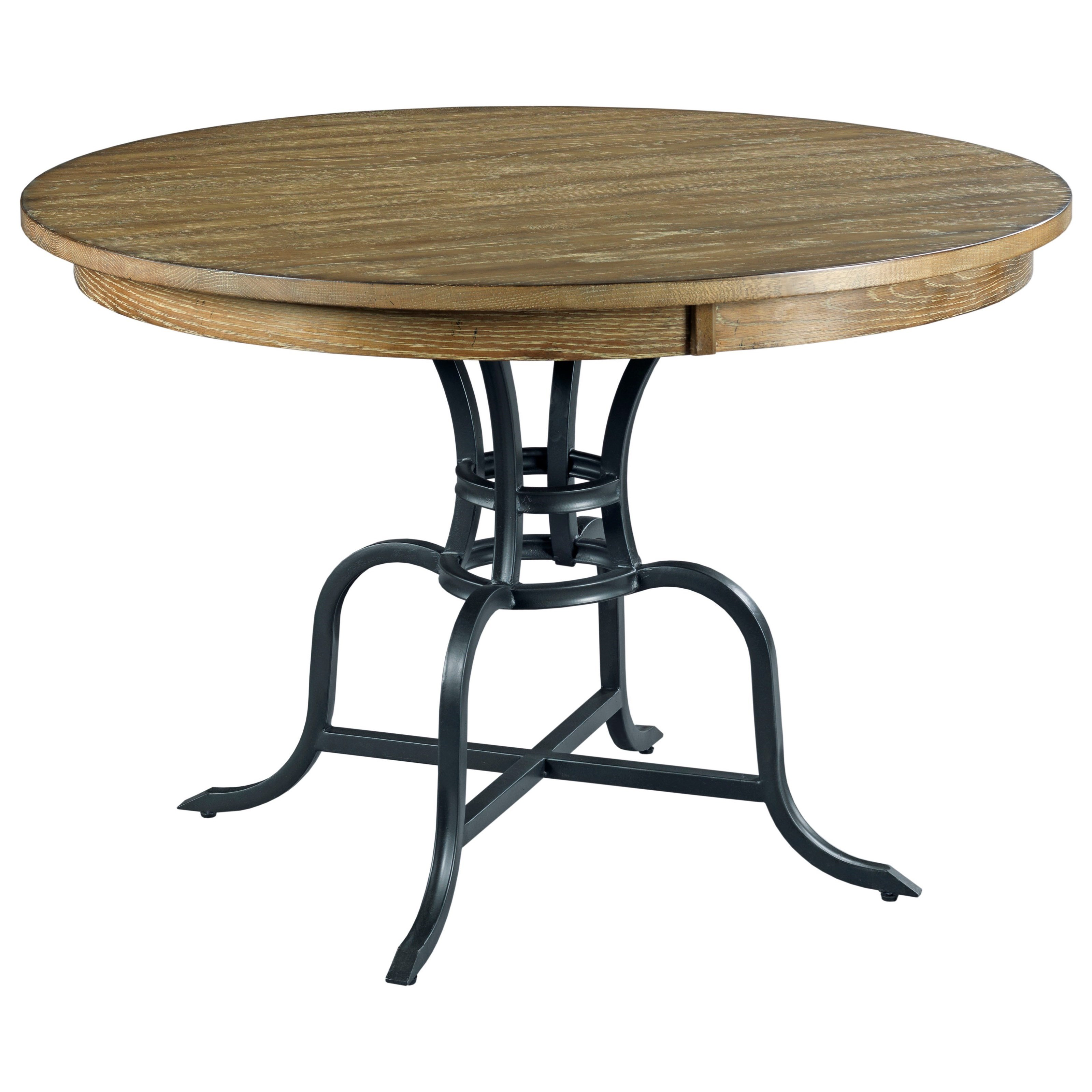 44 round solid wood dining table with rustic metal base by kincaid furniture wolf and. Black Bedroom Furniture Sets. Home Design Ideas