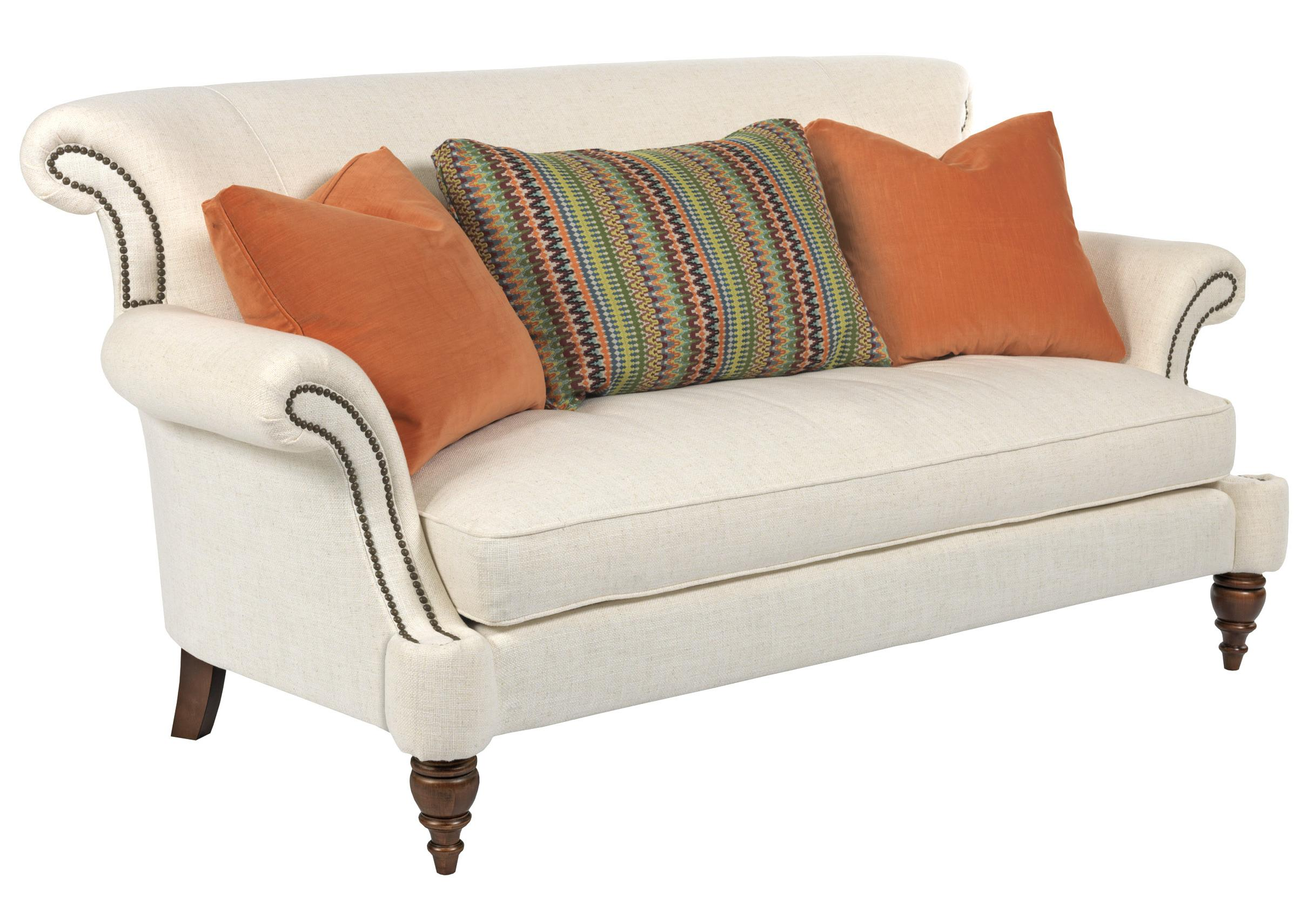 Traditional settee with rolled arms and turned legs by for Traditional sofas with legs