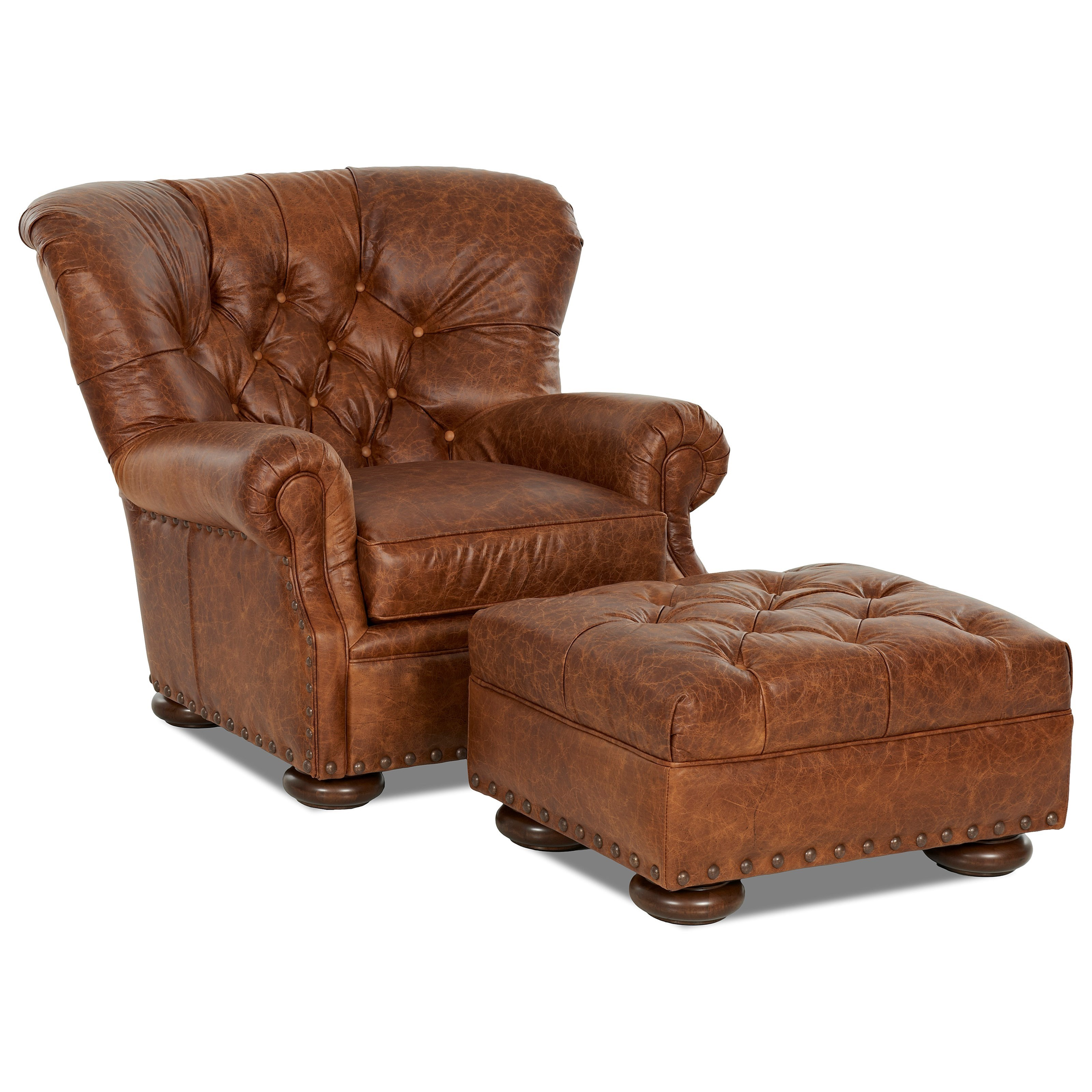 Tufted leather chair and ottoman set by klaussner wolf for Chair and footstool
