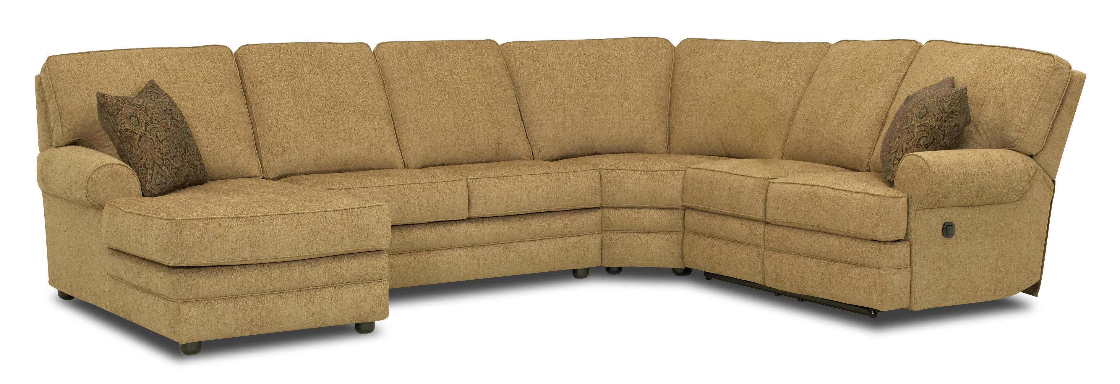 Reclining sectional with left side chaise by klaussner for Sectional sofas gardiners