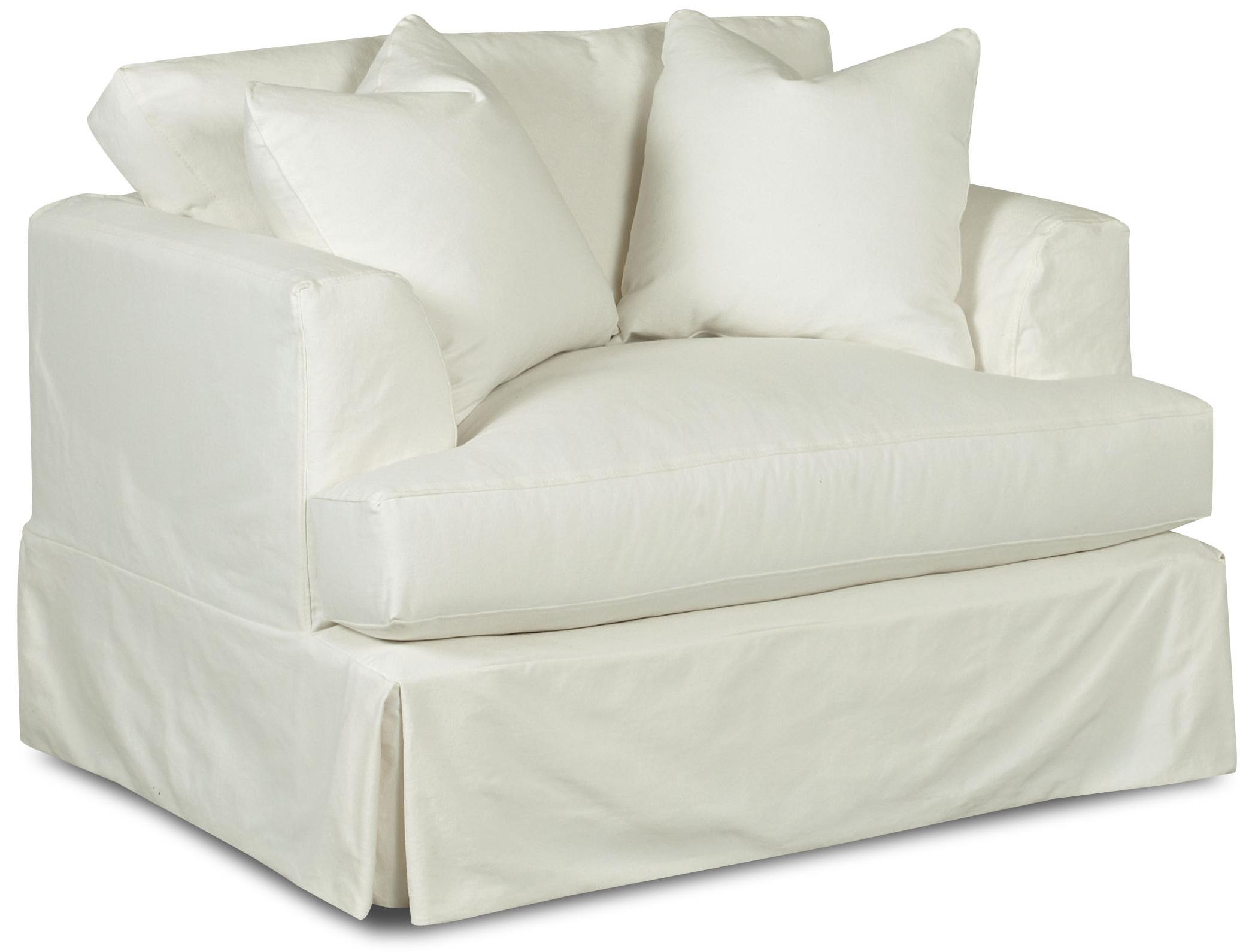Oversized Slipcover Chair With Flared Track Arms By