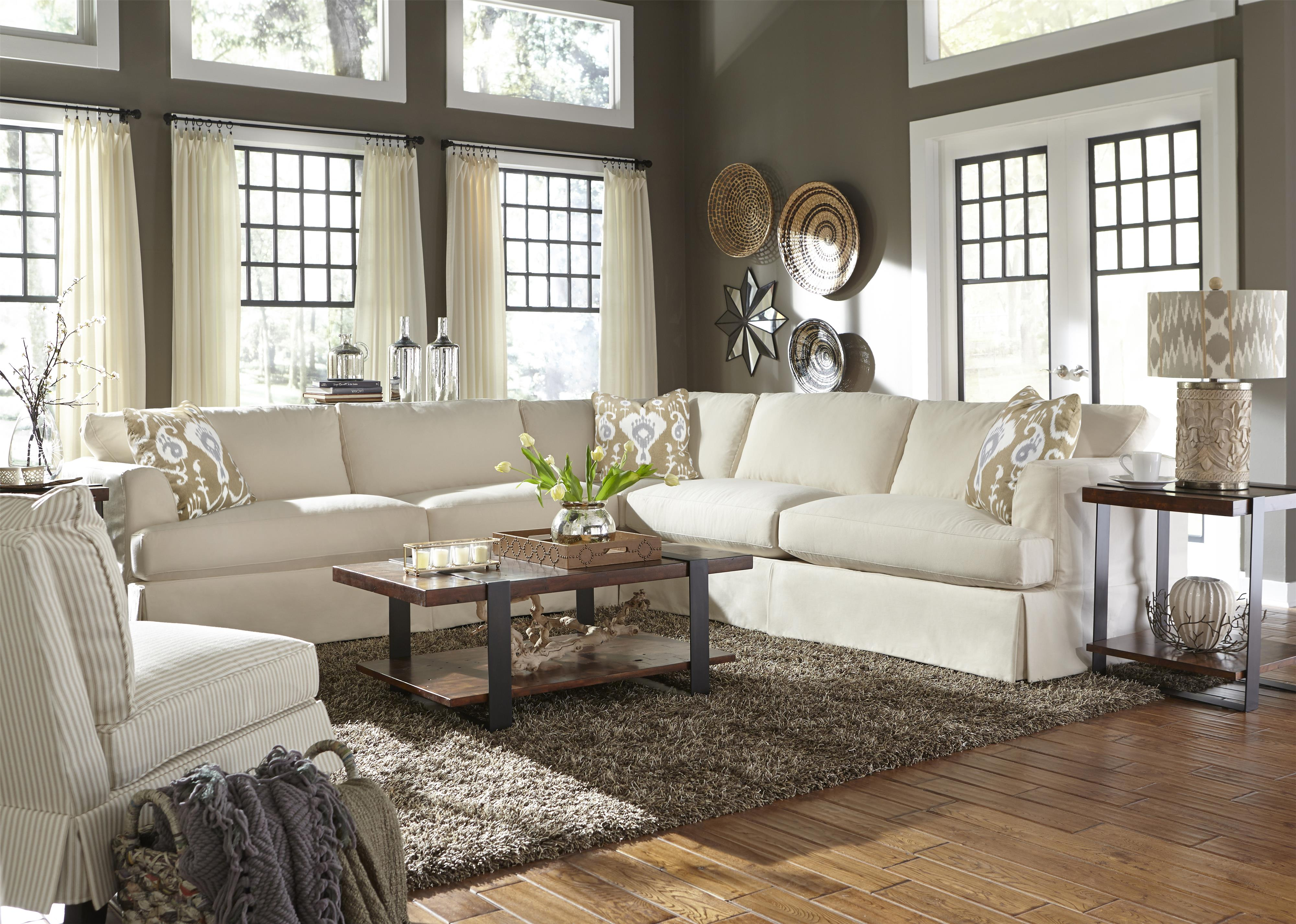 Casual Sectional Sofa With Slip Cover By Klaussner Wolf