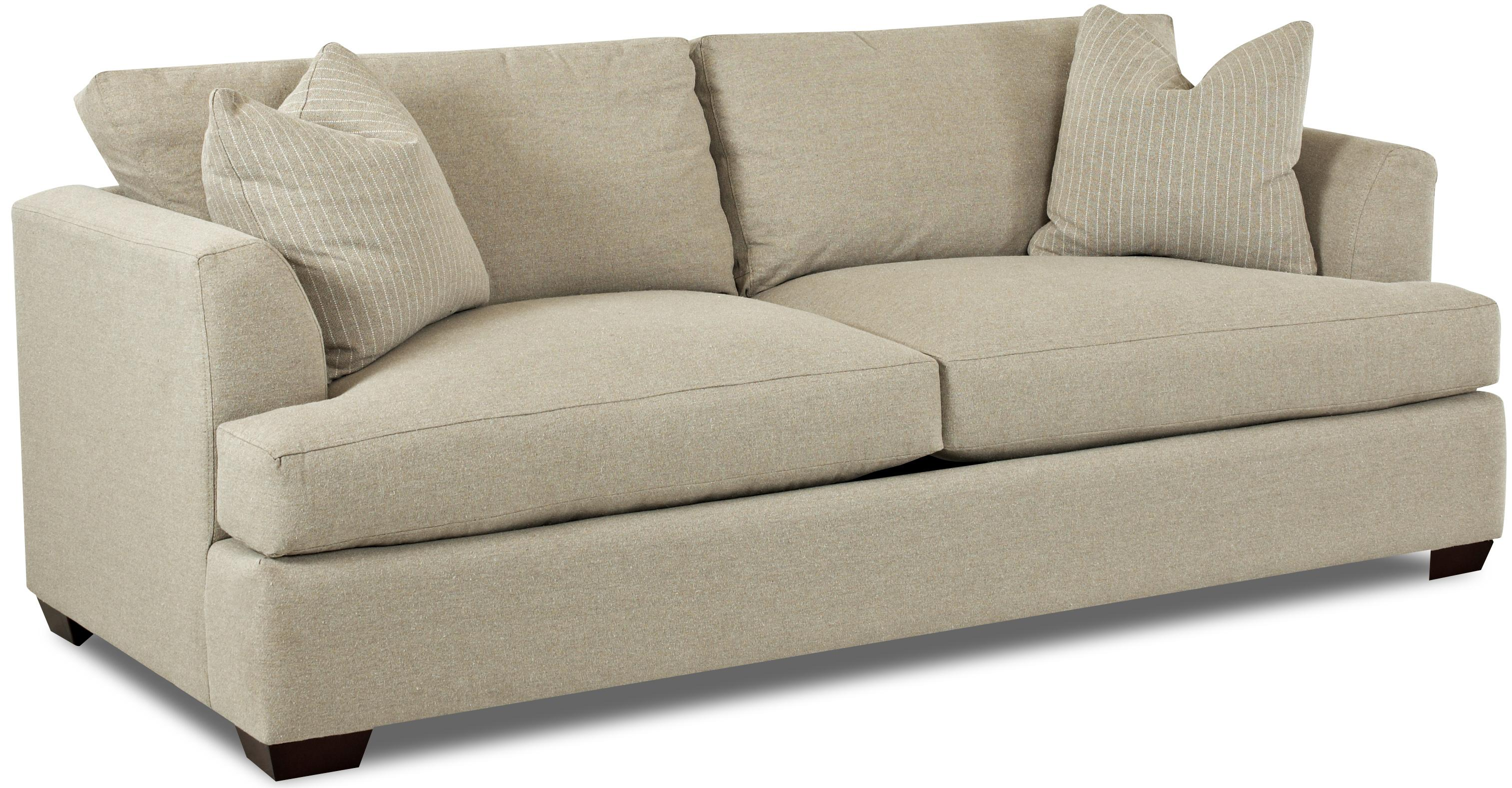 Contemporary sofa with flared track arms by klaussner for Sectional sofas gardiners