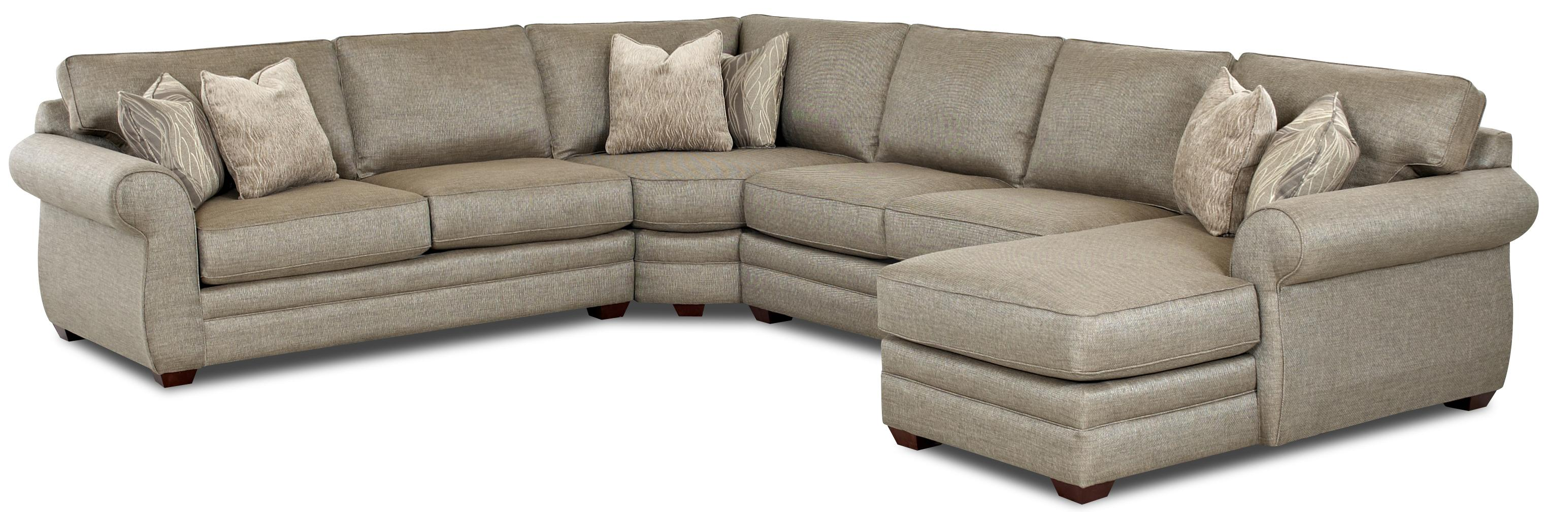 Transitional sectional sofa with right chaise and full for Sectional sofa with round chaise