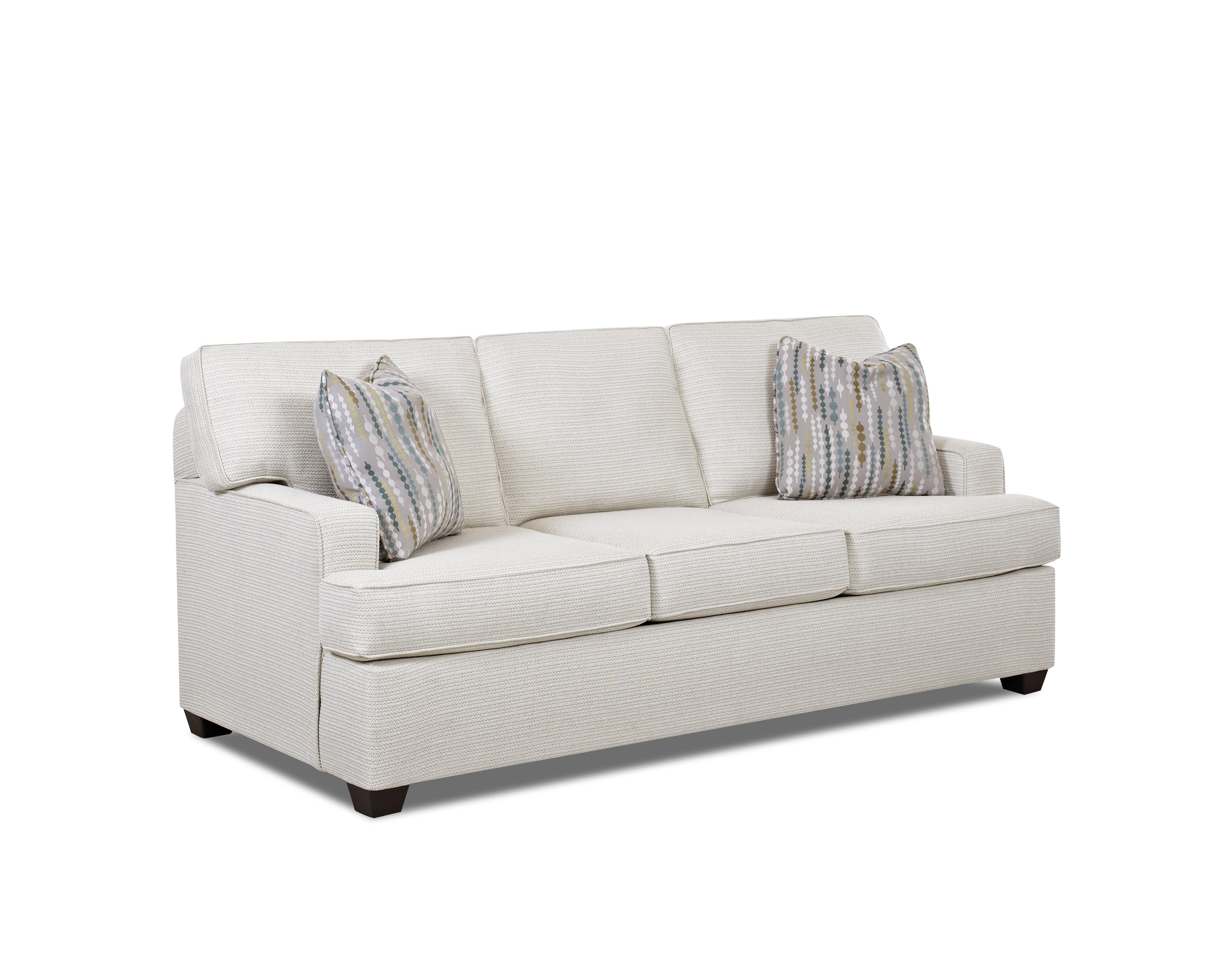 contemporary stationary sofa with track arms and t