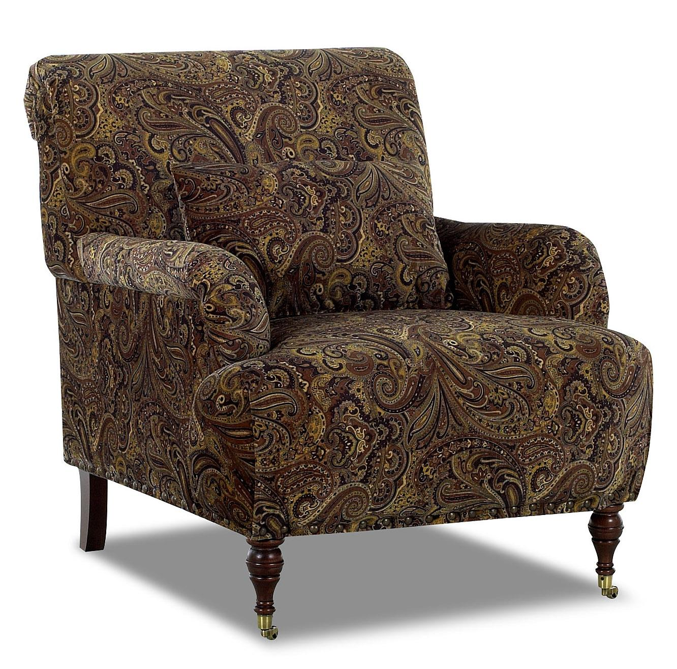 Traditional accent chair with english arms and turned legs for Accent furniture