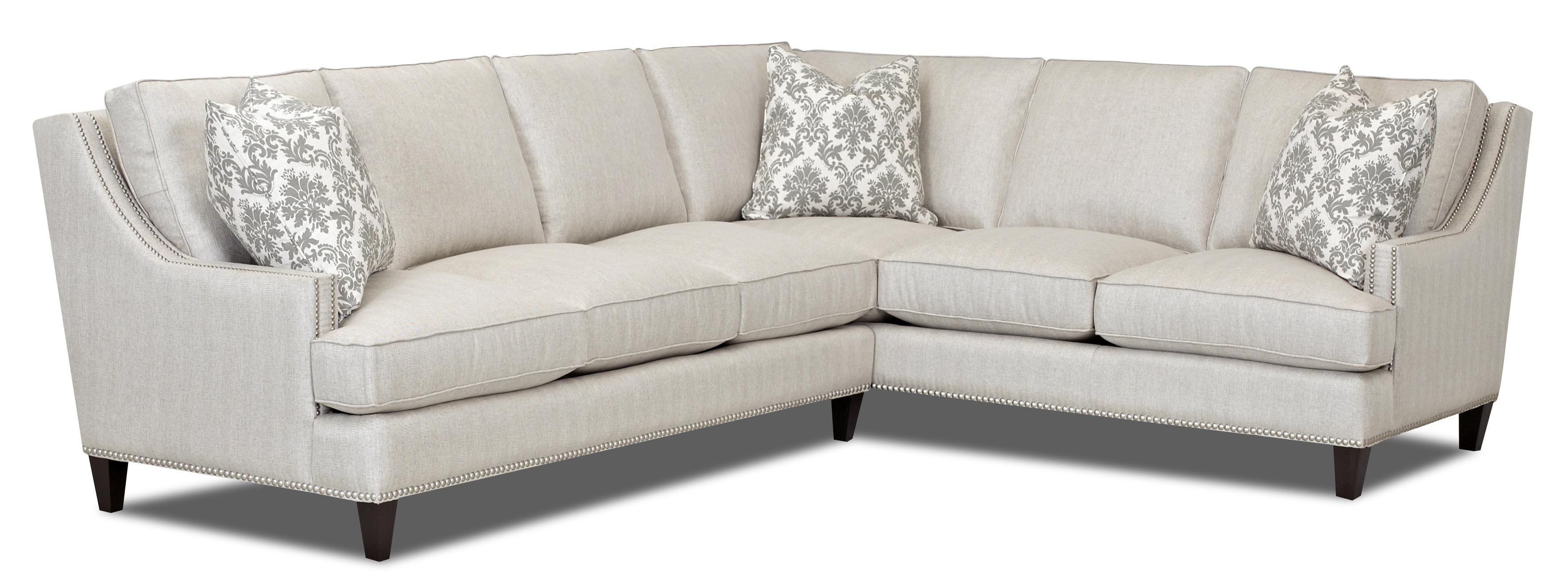 Transitional 2 piece sectional by klaussner wolf and for Sectional sofas wolf furniture