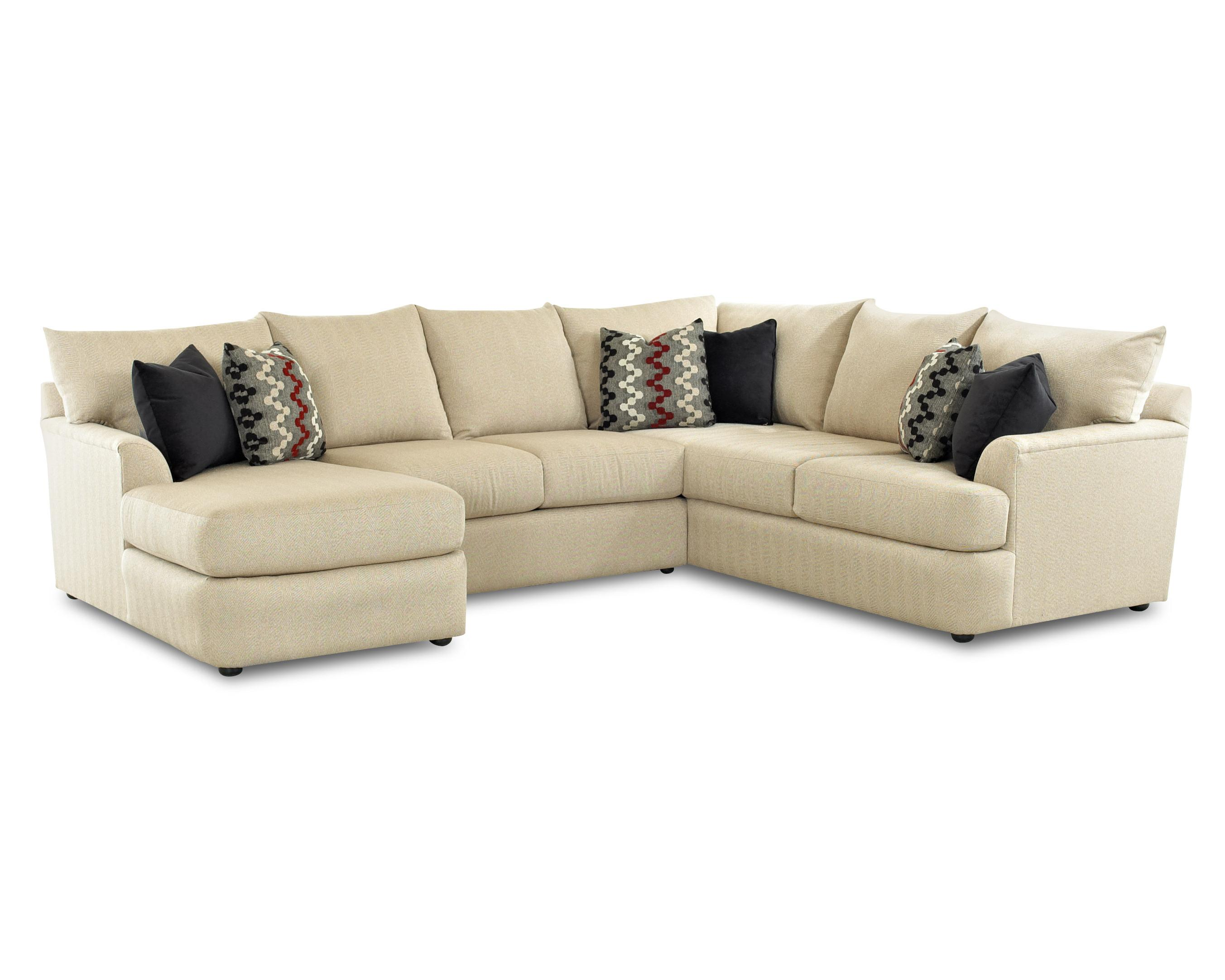 Sectional sofa with left side chaise lounger by klaussner for Sectional sofas wolf furniture