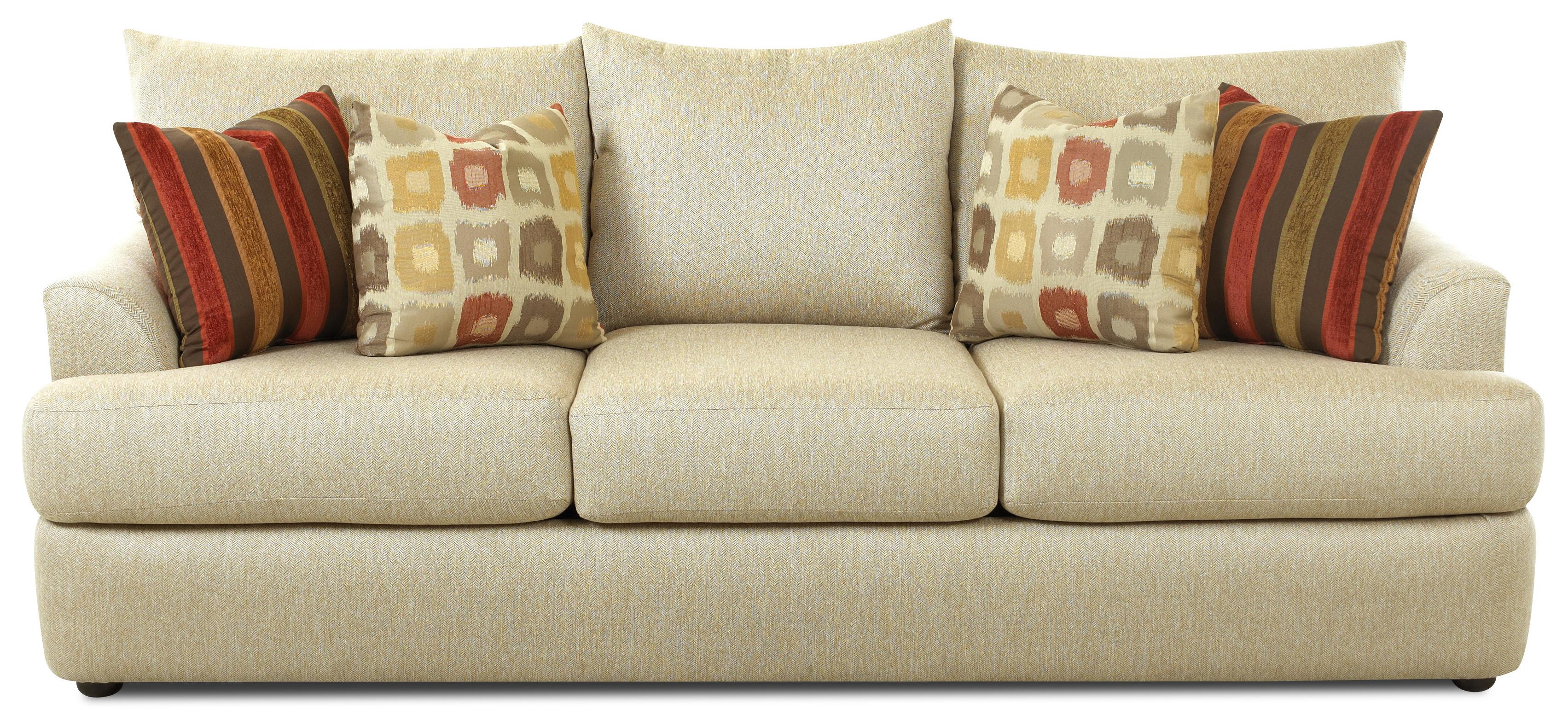 Three over three sofa with accent pillows by klaussner for Throw pillows for sectional sofa