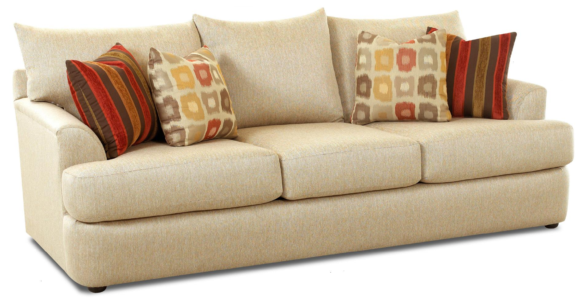 Three over three sofa with accent pillows by klaussner wolf and gardiner wolf furniture - Accent pillows for couch ...
