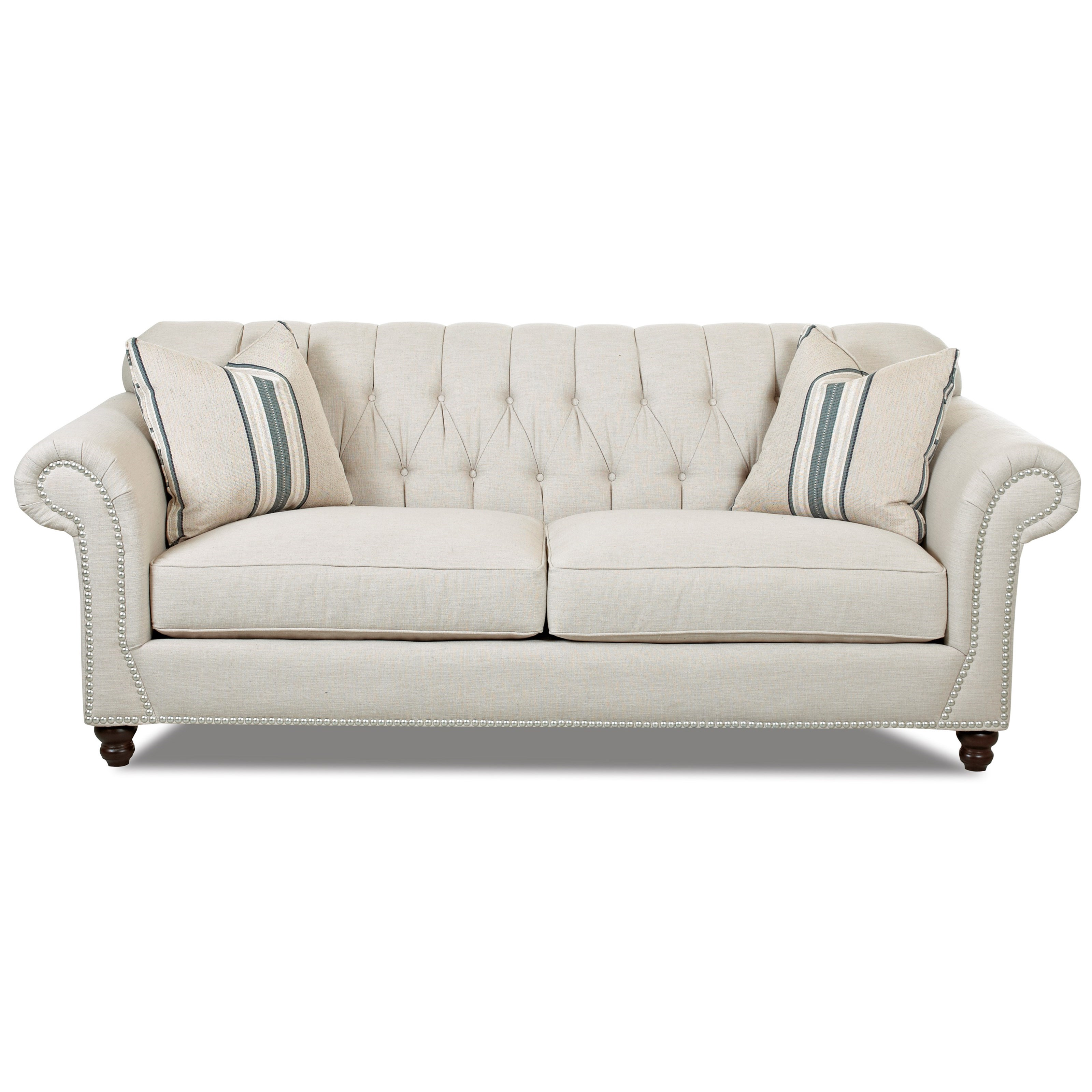 Traditional sofa with button tufted back and rolled arms for Klaussner sofa