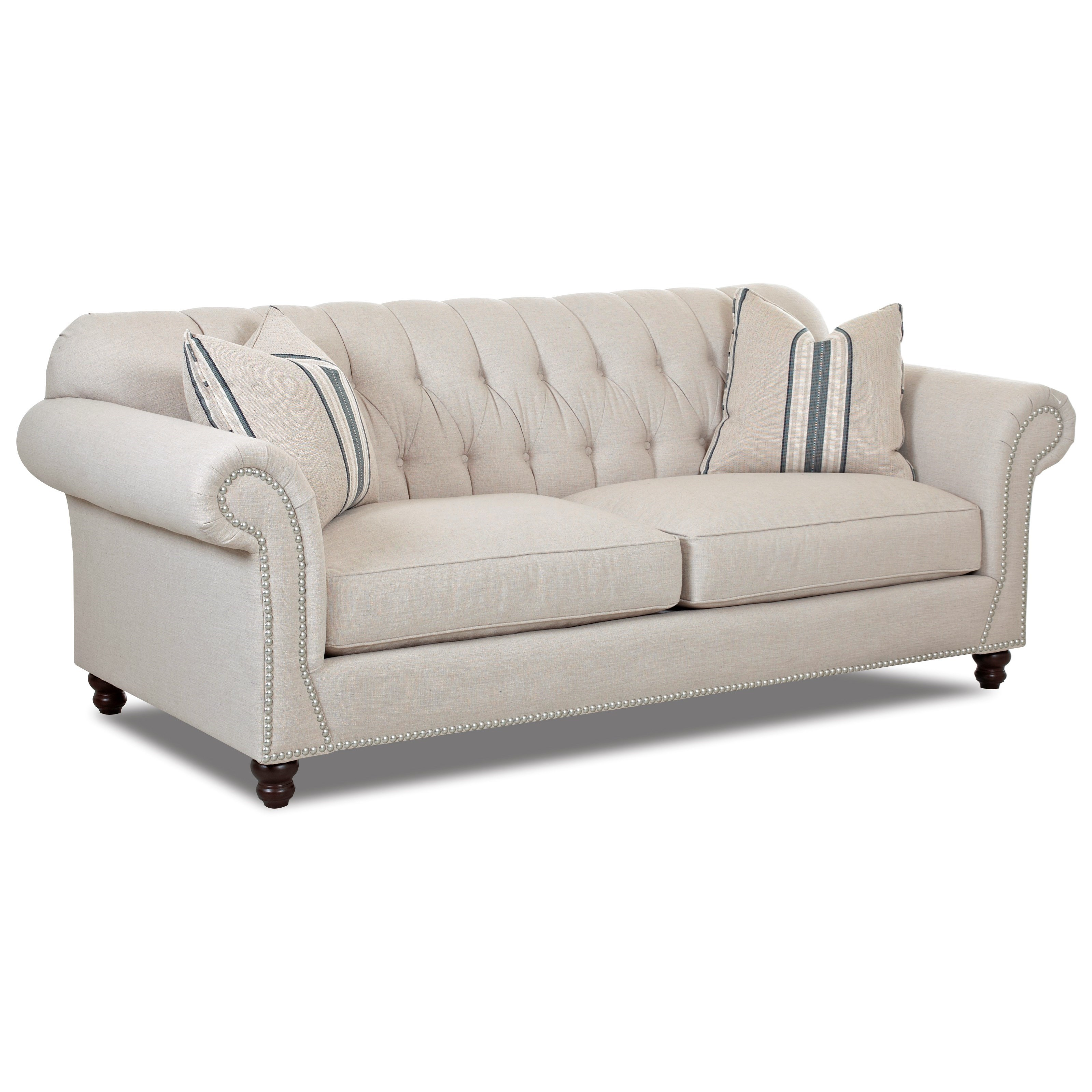 Traditional sofa with button tufted back and rolled arms for Traditional couches